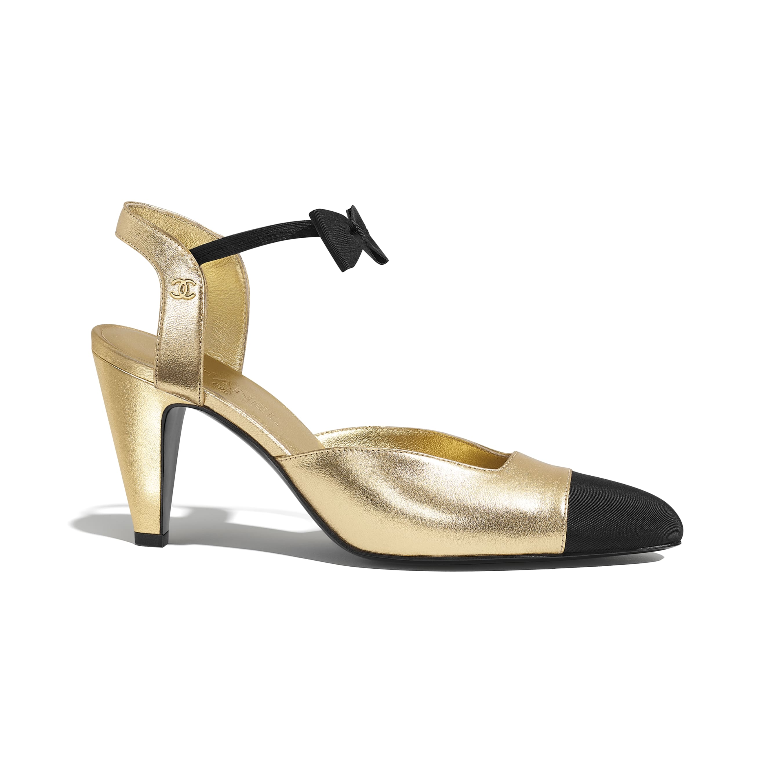Pumps - Gold & Black - Laminated Lambskin & Grosgrain - CHANEL - Default view - see standard sized version