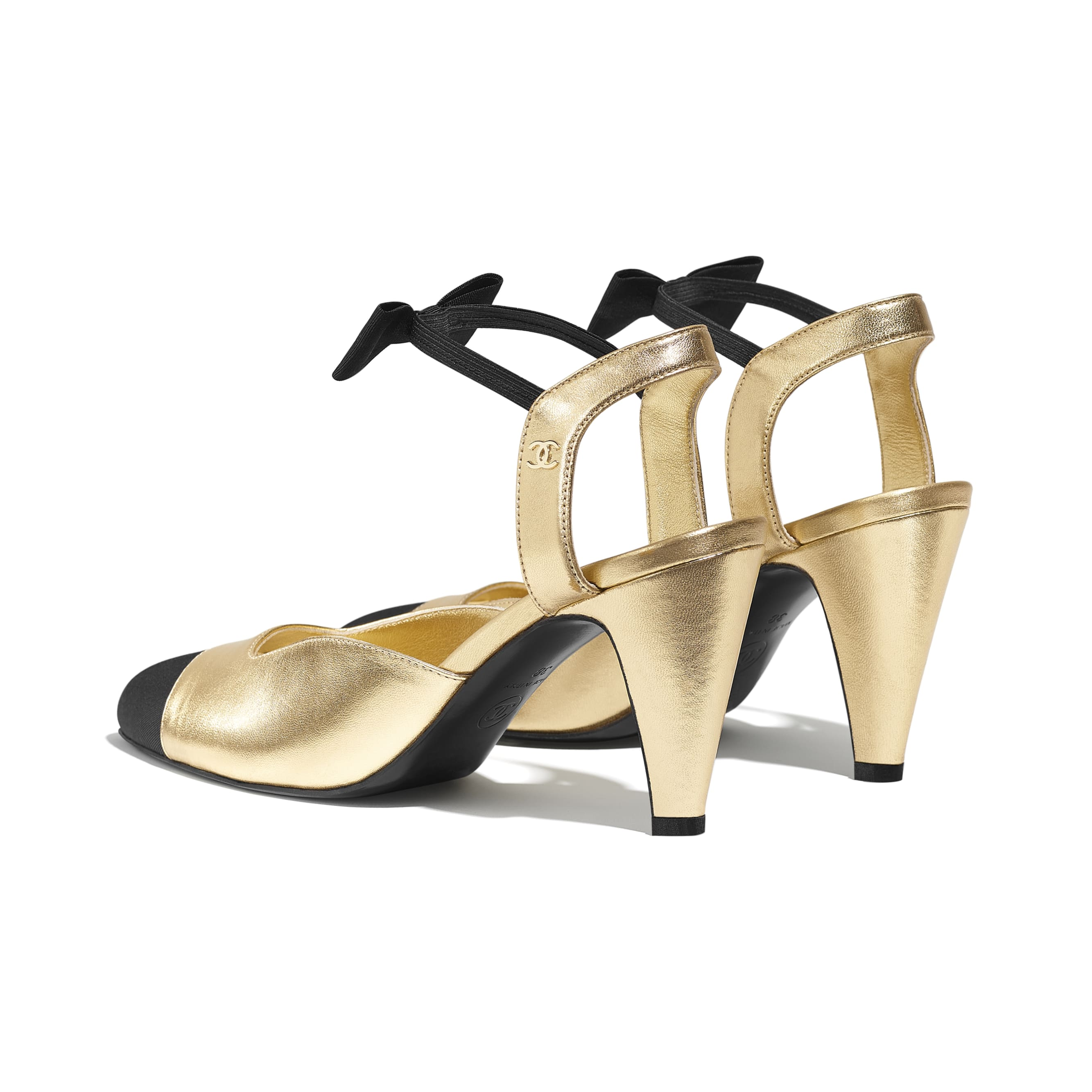 Pumps - Gold & Black - Laminated Lambskin & Grosgrain - CHANEL - Other view - see standard sized version