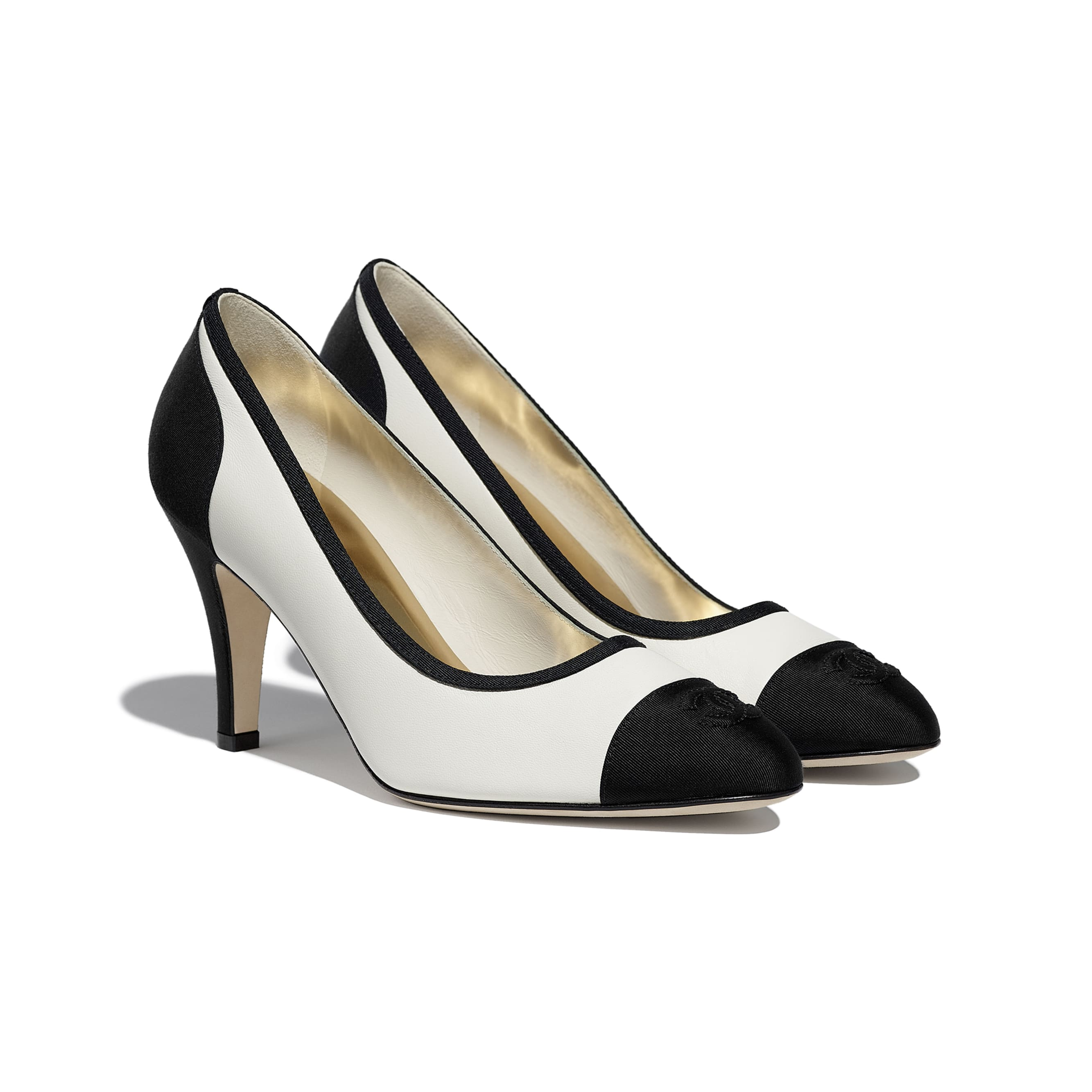 Pumps - Ivory & Black - Lambskin & Grosgrain - CHANEL - Alternative view - see standard sized version