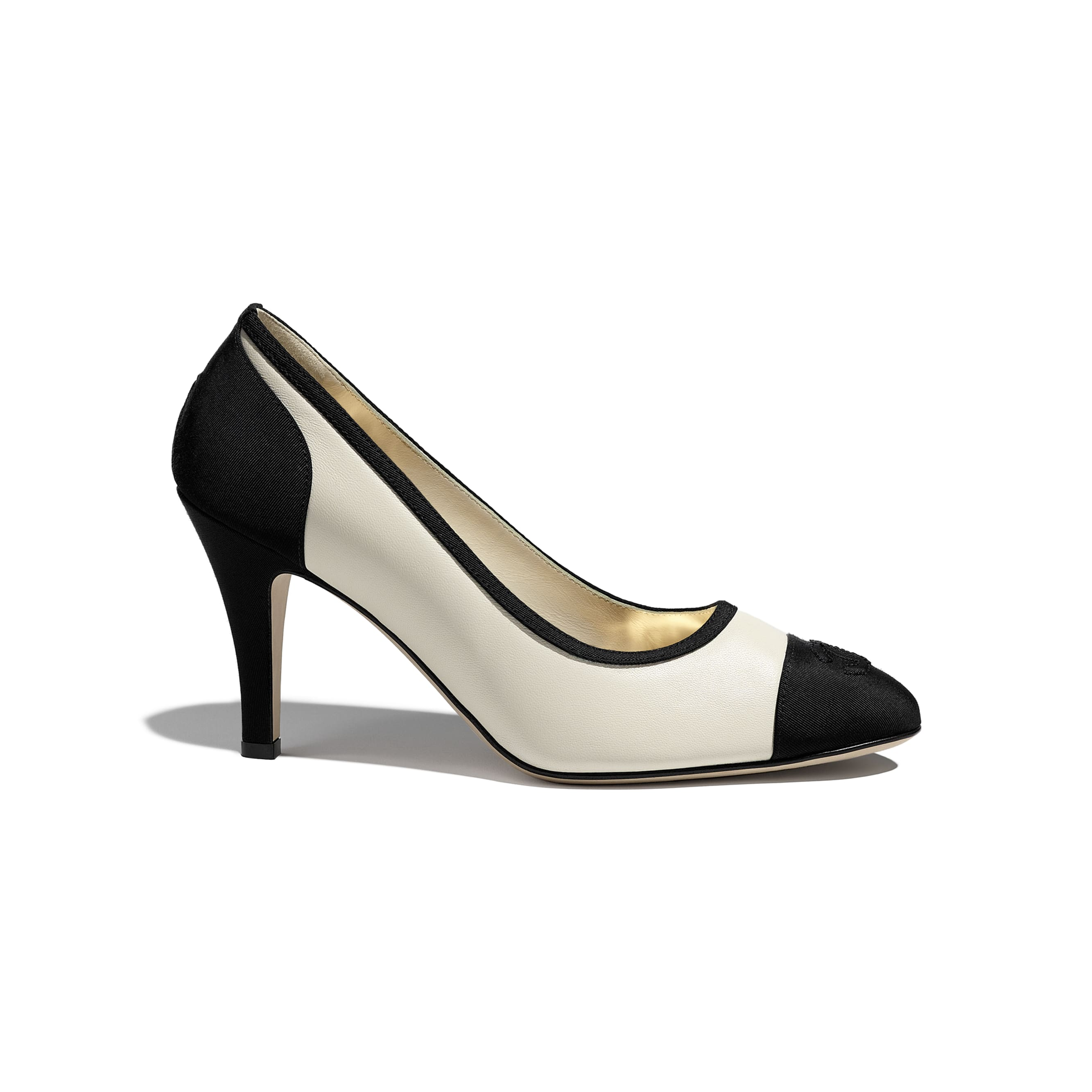 Pumps - Ivory & Black - Lambskin & Grosgrain - CHANEL - Default view - see standard sized version