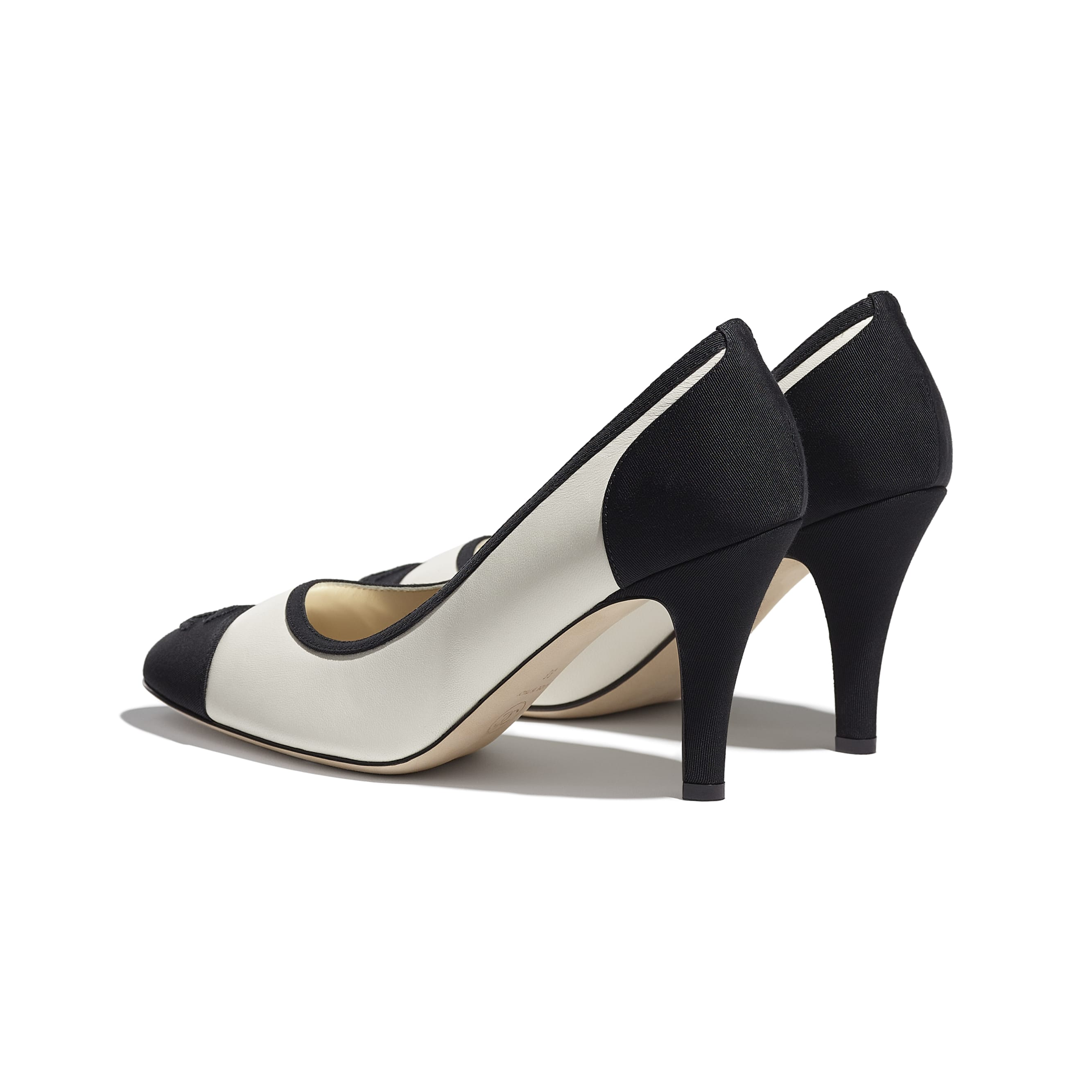 Pumps - Ivory & Black - Lambskin & Grosgrain - CHANEL - Other view - see standard sized version