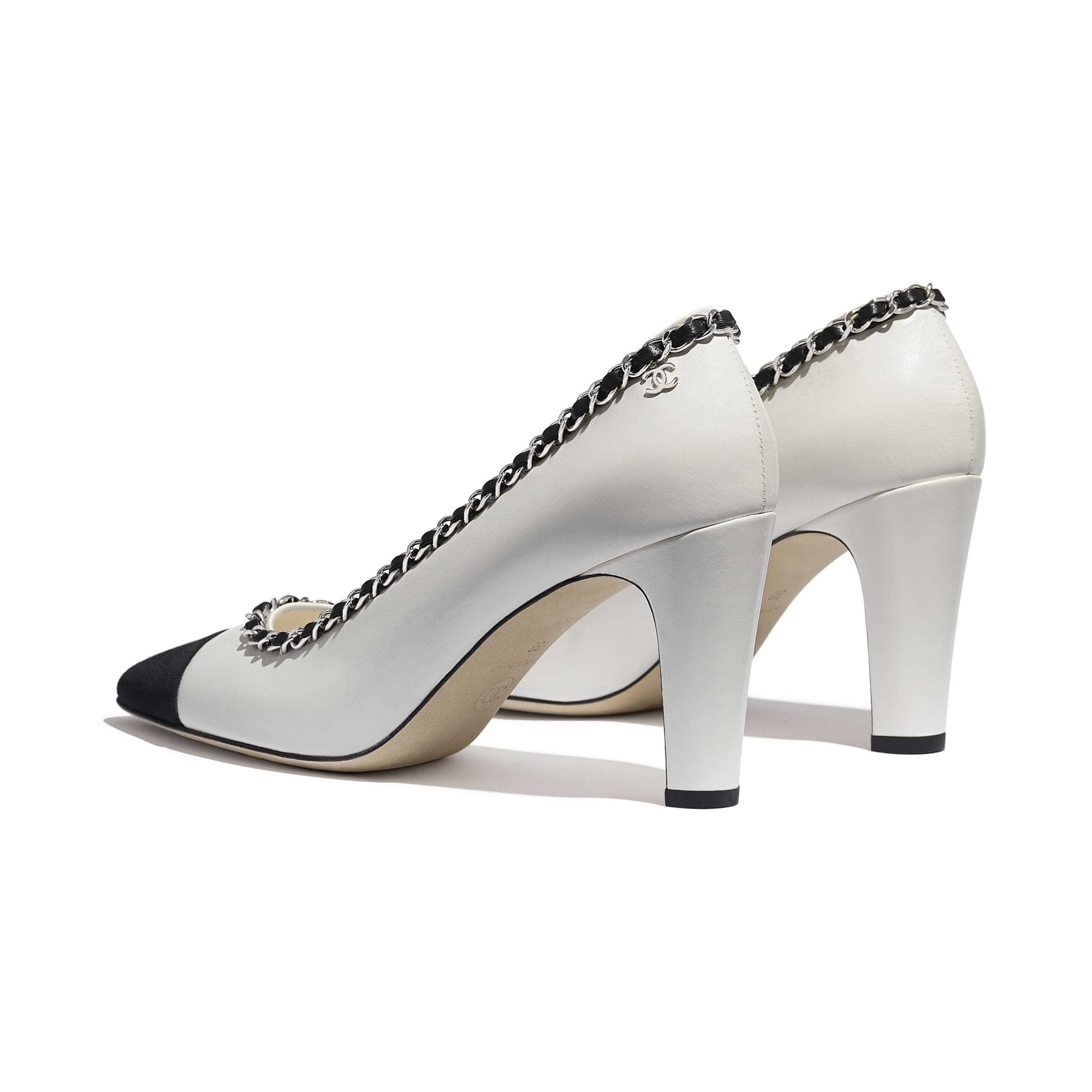 Pumps - Ivory & Black - Lambskin - CHANEL - Other view - see standard sized version