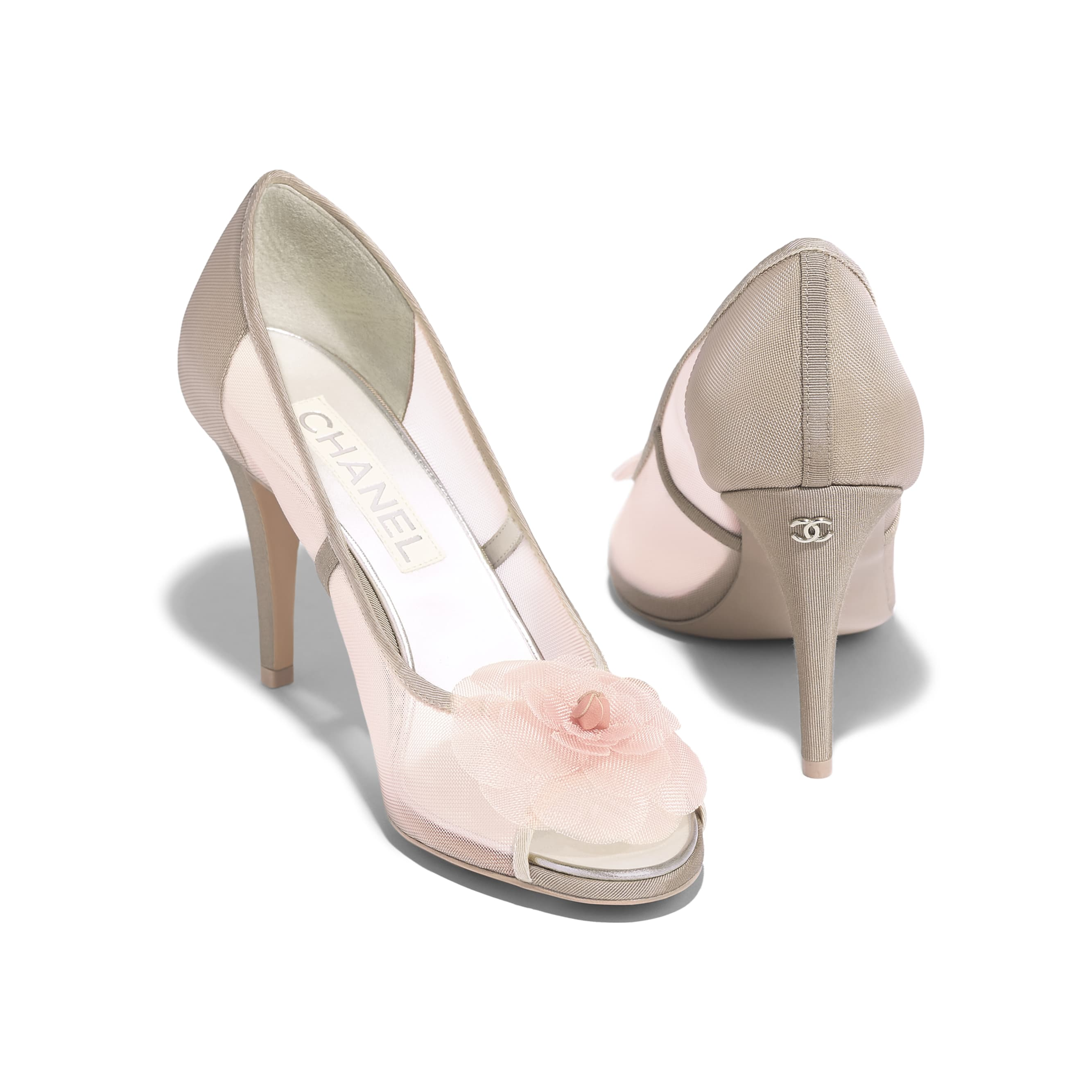 Pumps - Pink & Beige - Mesh & Grosgrain - Other view - see standard sized version