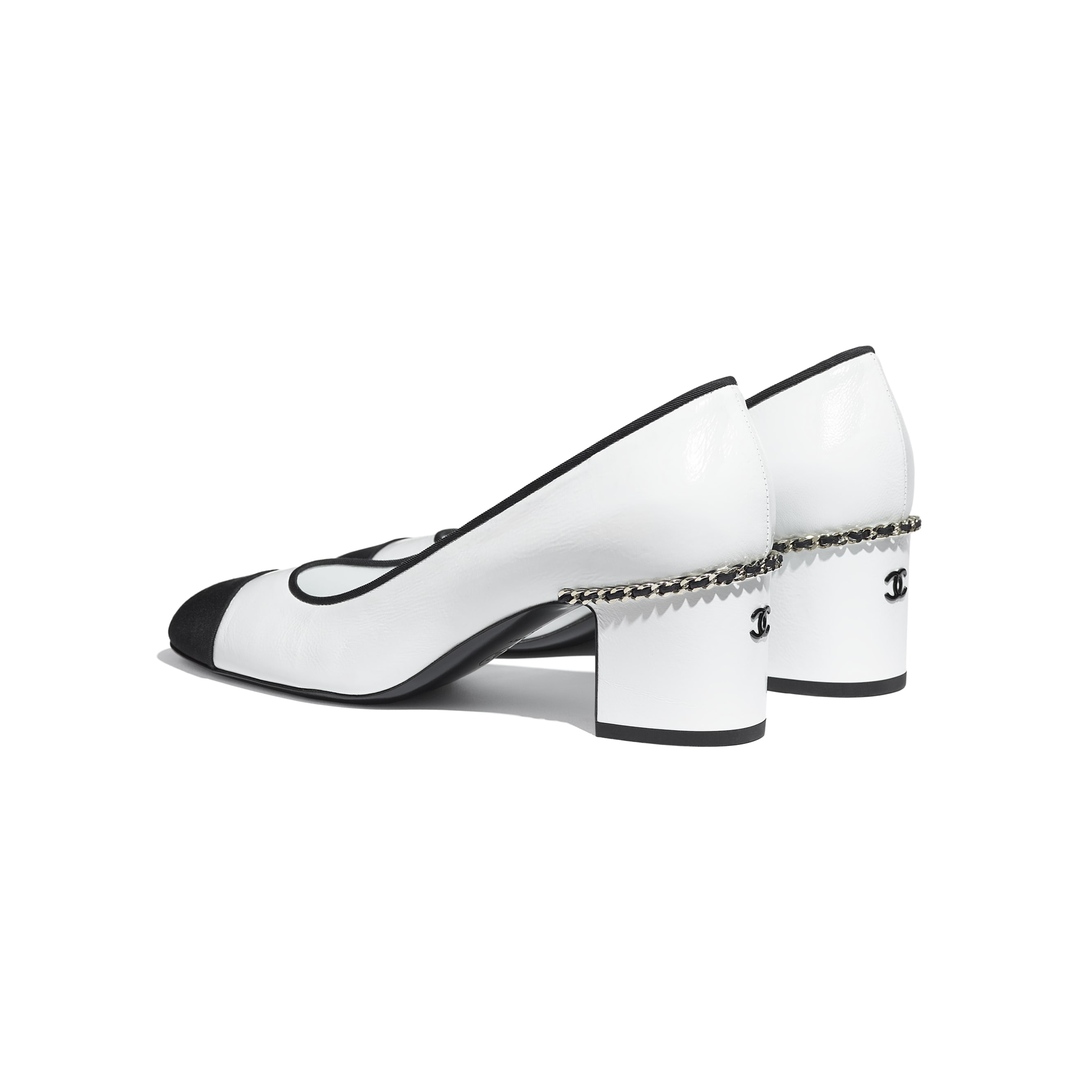 Pumps - White & Black - Laminated Lambskin & Grosgrain - CHANEL - Other view - see standard sized version