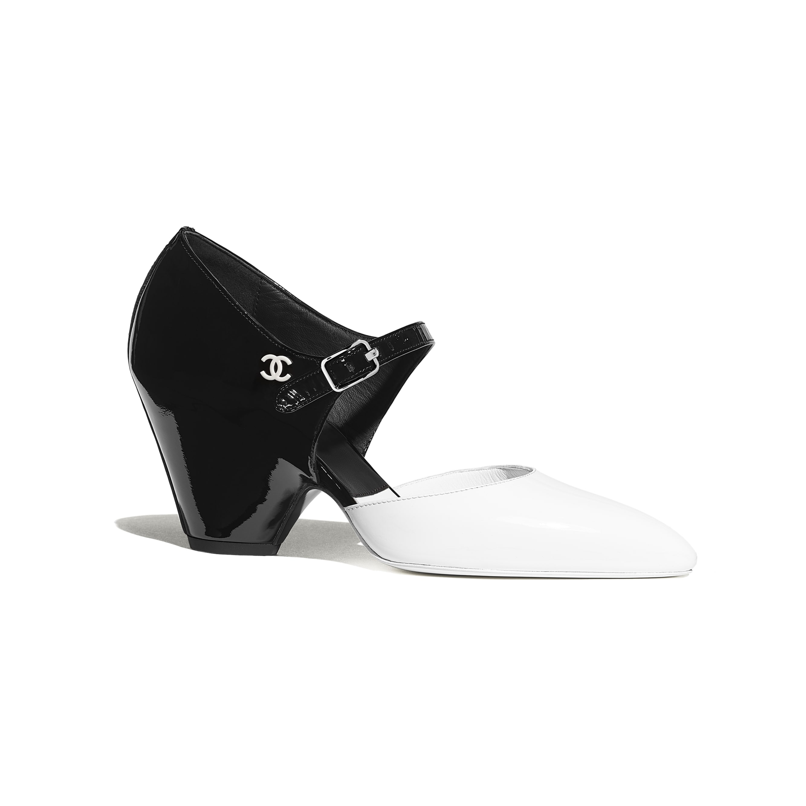 Pumps - White & Black - Patent Calfskin - Default view - see standard sized version