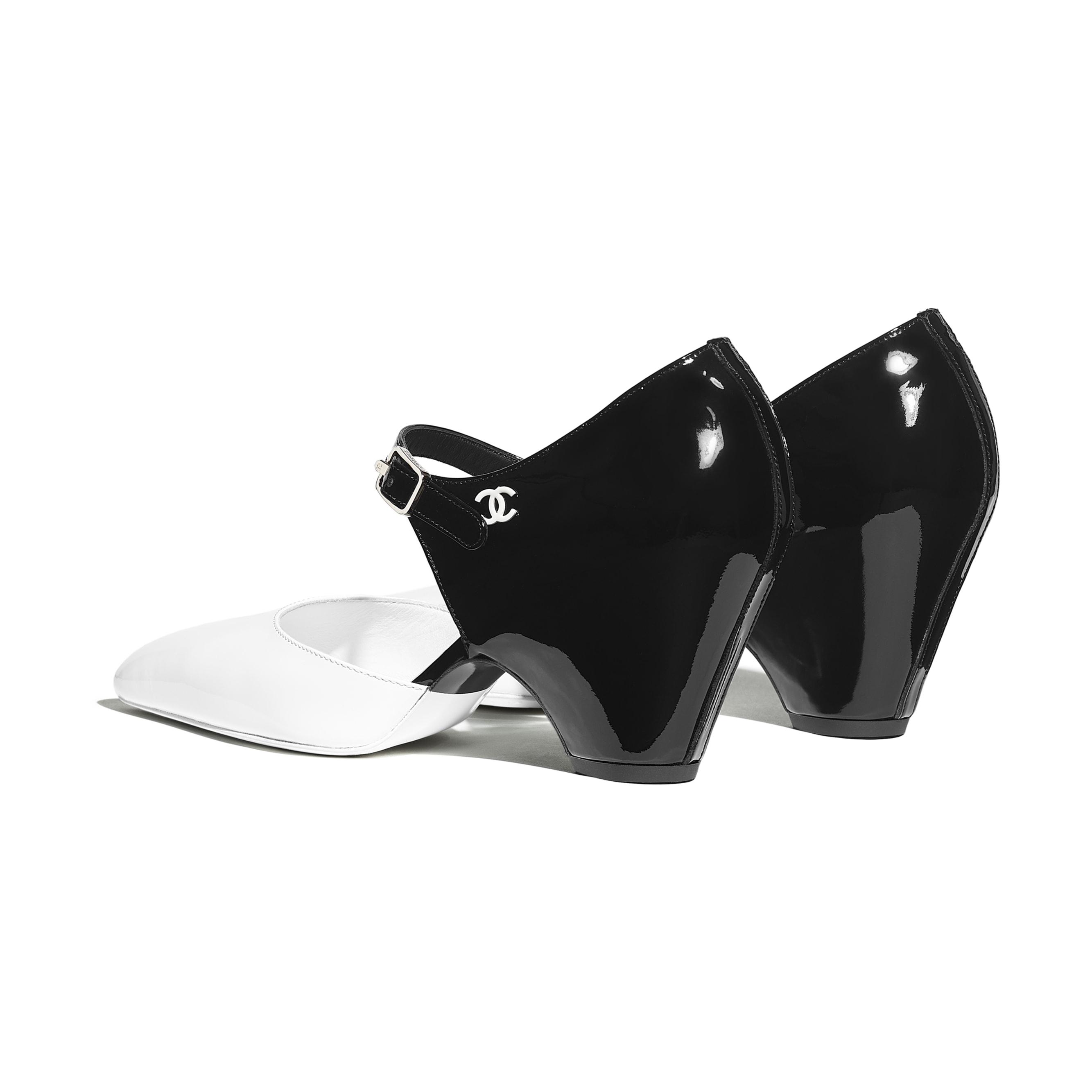 Pumps - White & Black - Patent Calfskin - Other view - see standard sized version