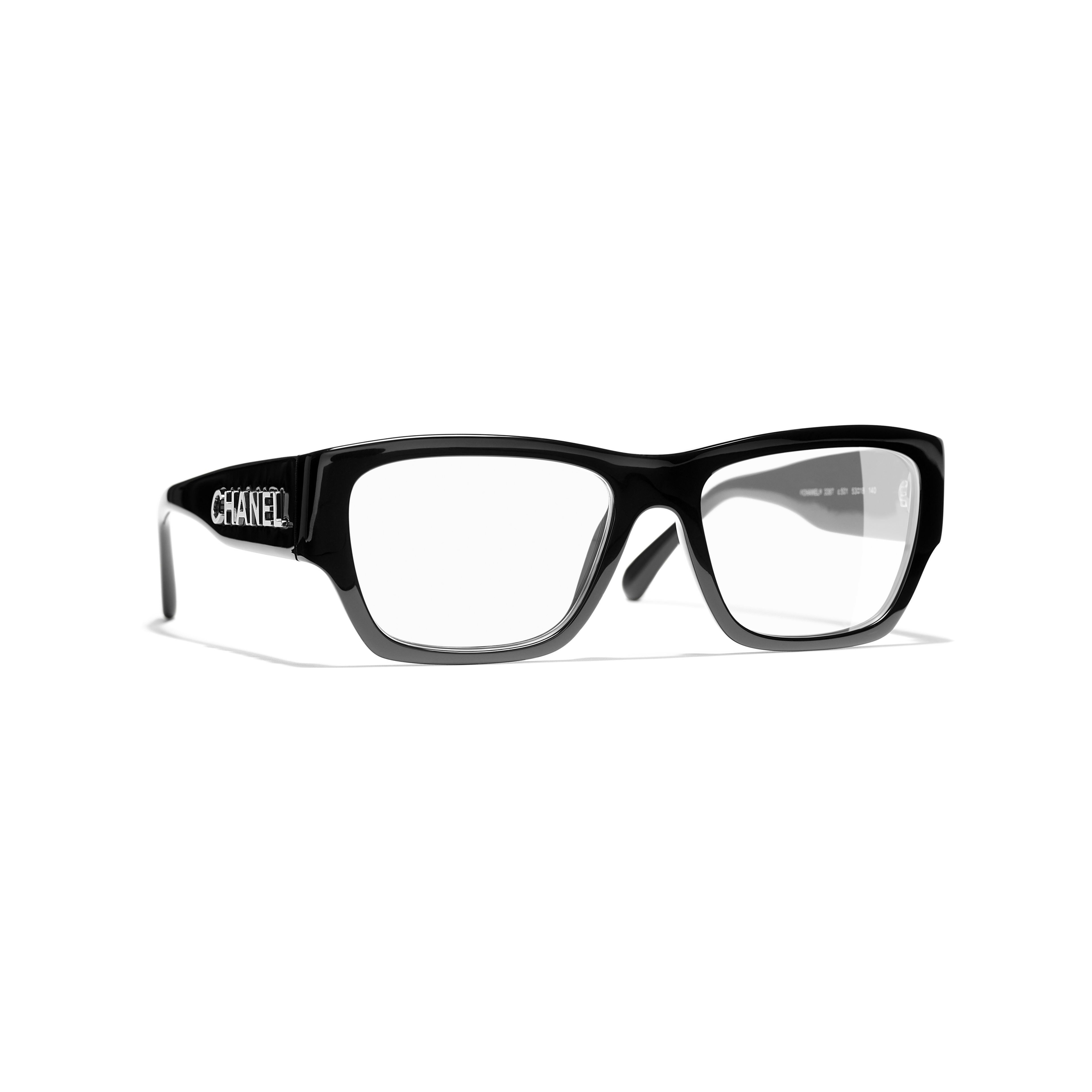 Rectangle Eyeglasses - Black - Acetate - CHANEL - Default view - see standard sized version