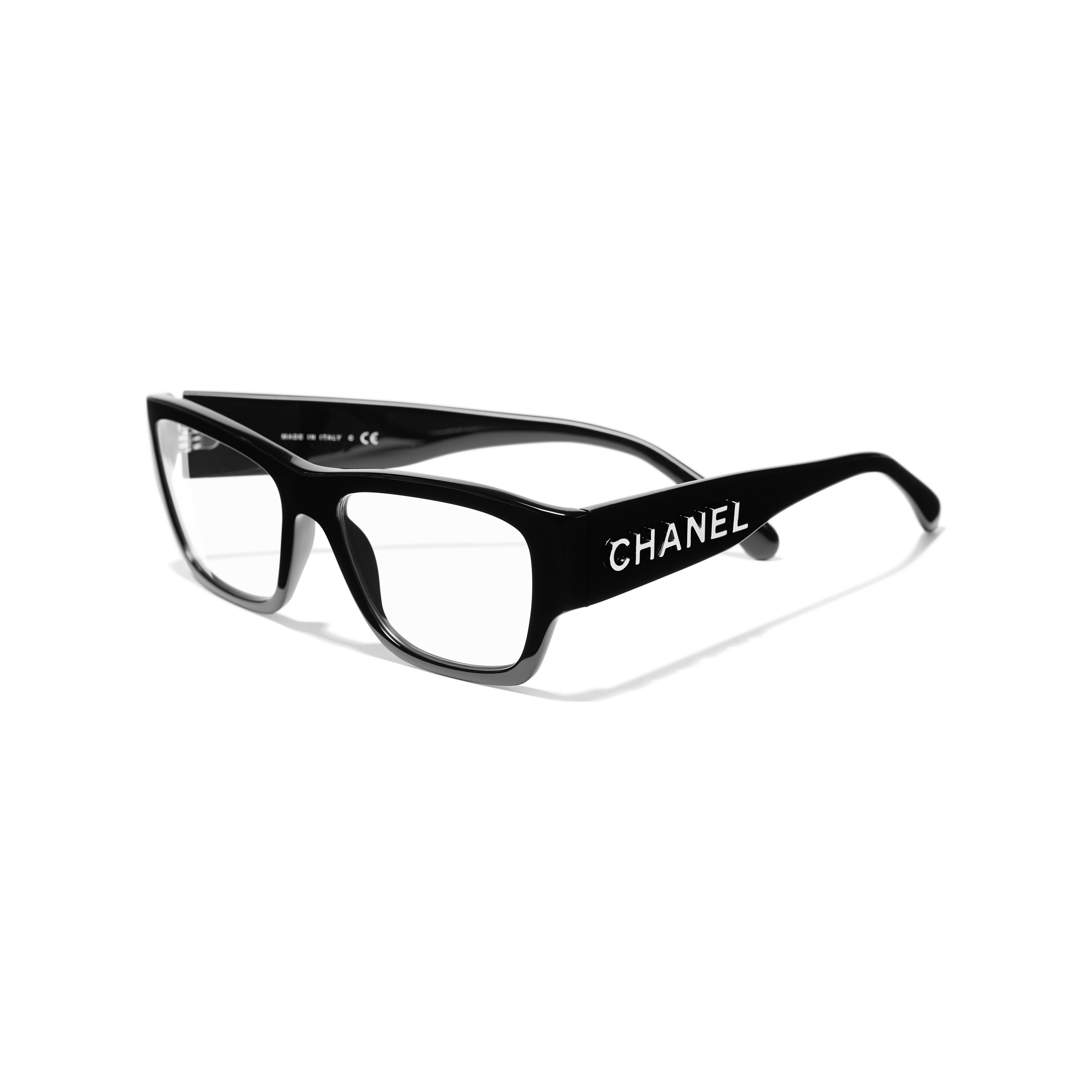 Rectangle Eyeglasses - Black - Acetate - CHANEL - Extra view - see standard sized version
