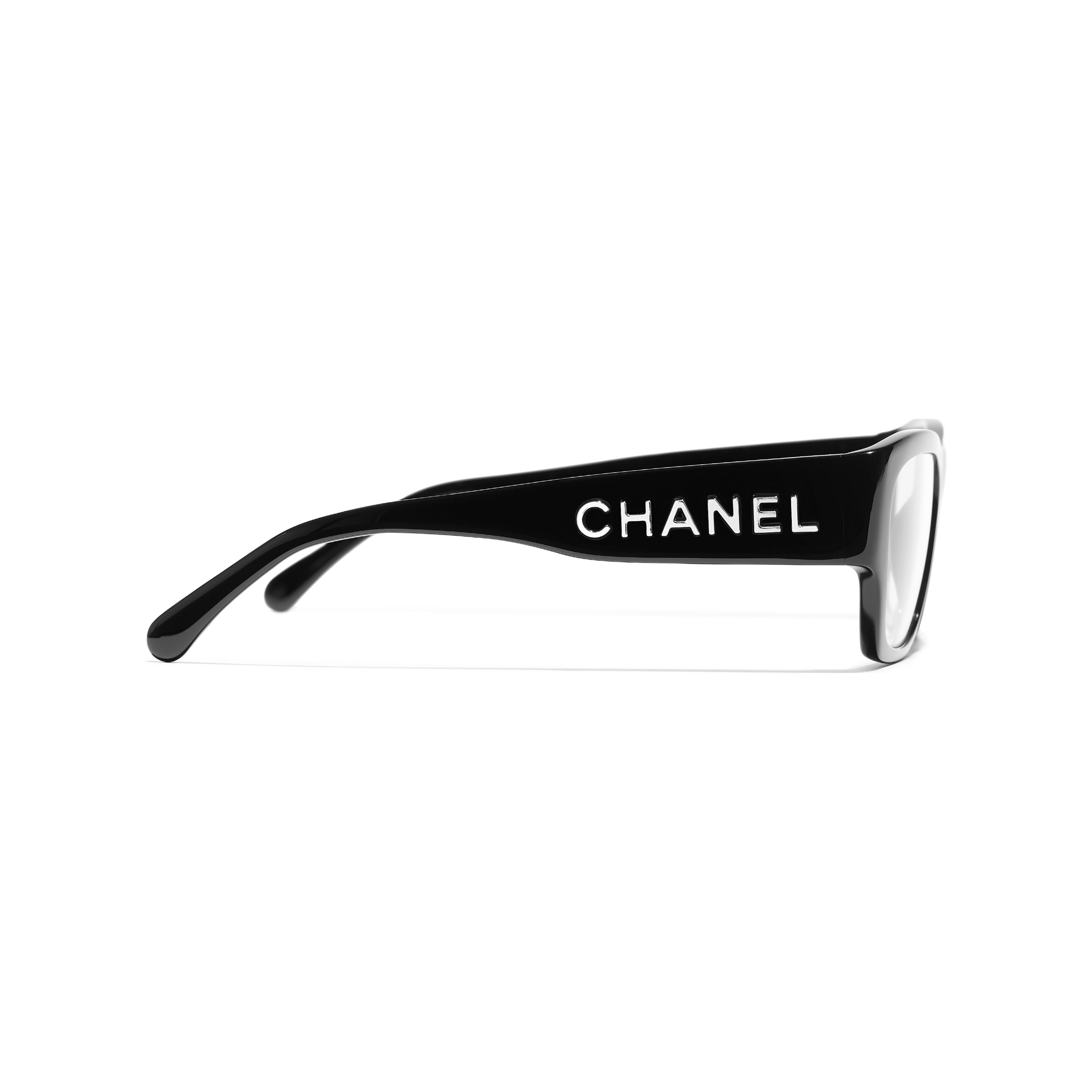 Rectangle Eyeglasses - Black - Acetate - CHANEL - Other view - see standard sized version