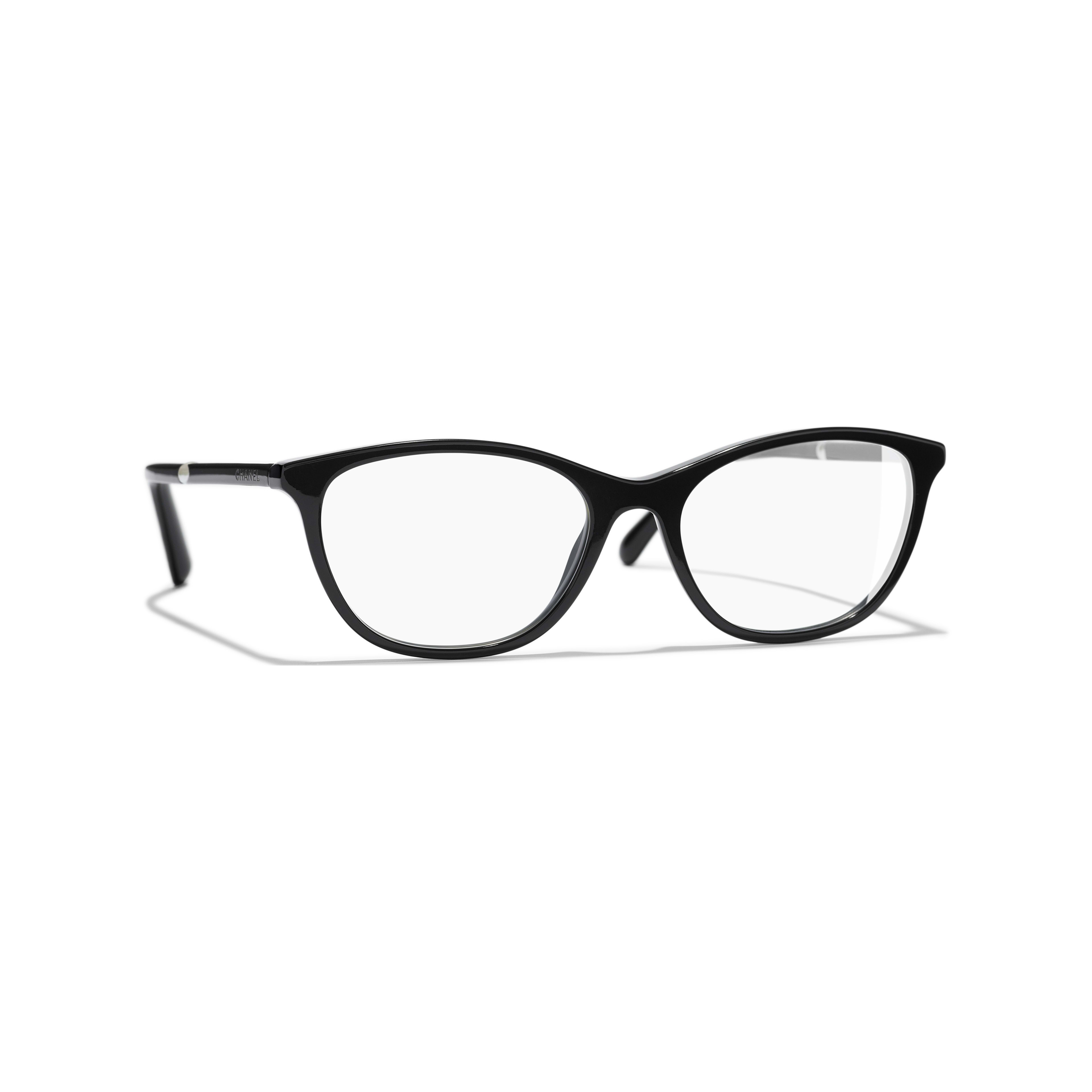 Rectangle Eyeglasses - Black - Acetate & Imitation Pearls - CHANEL - Default view - see standard sized version