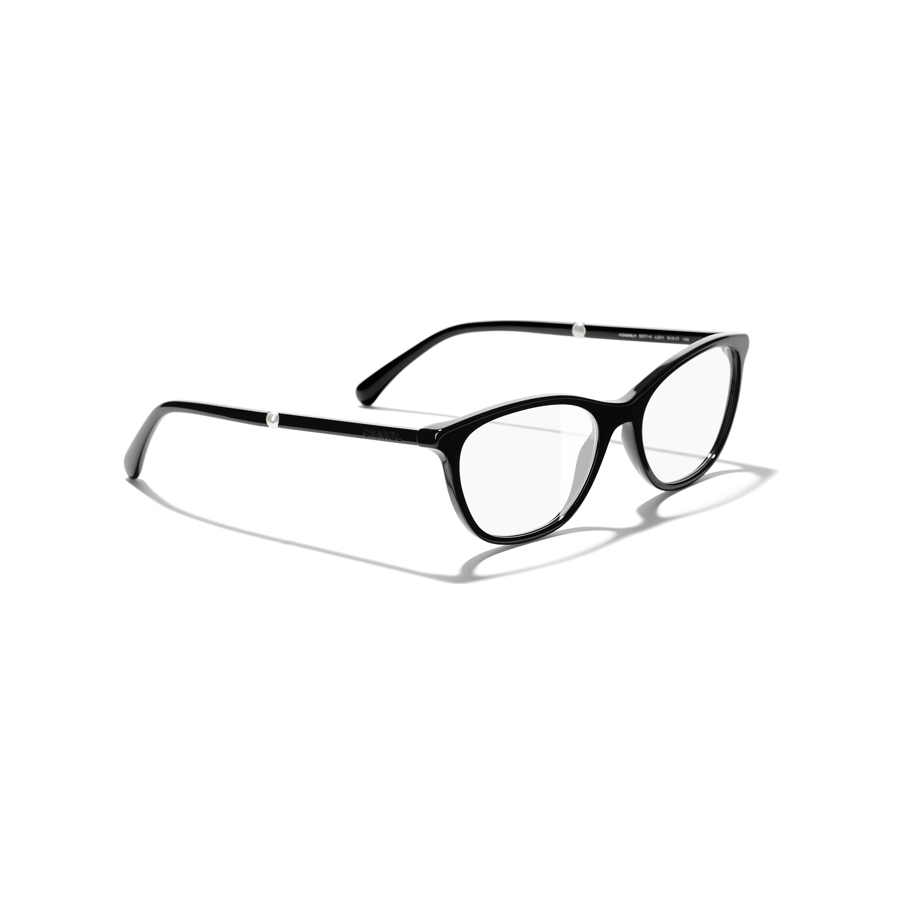 Rectangle Eyeglasses - Black - Acetate & Imitation Pearls - CHANEL - Extra view - see standard sized version