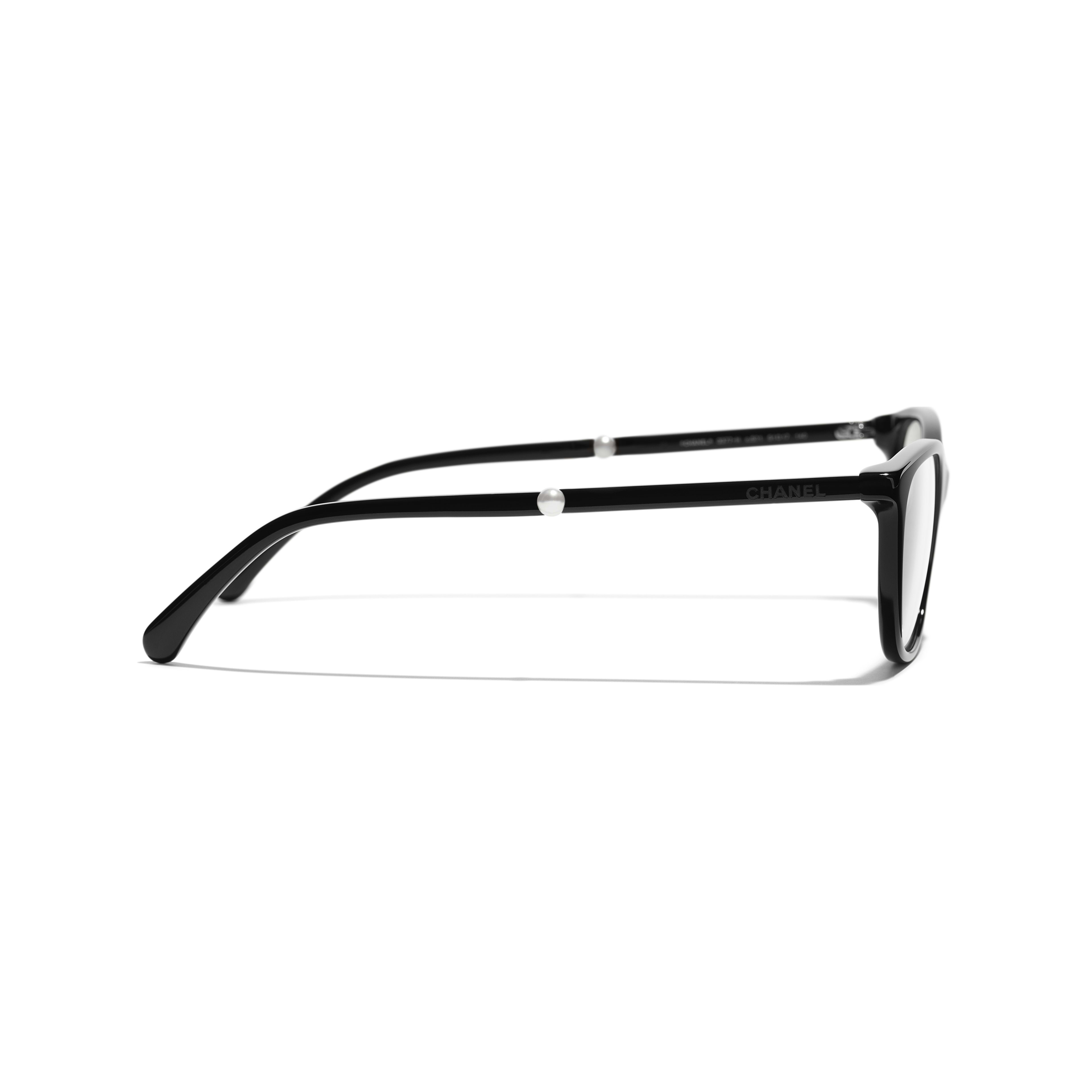 Rectangle Eyeglasses - Black - Acetate & Imitation Pearls - CHANEL - Other view - see standard sized version