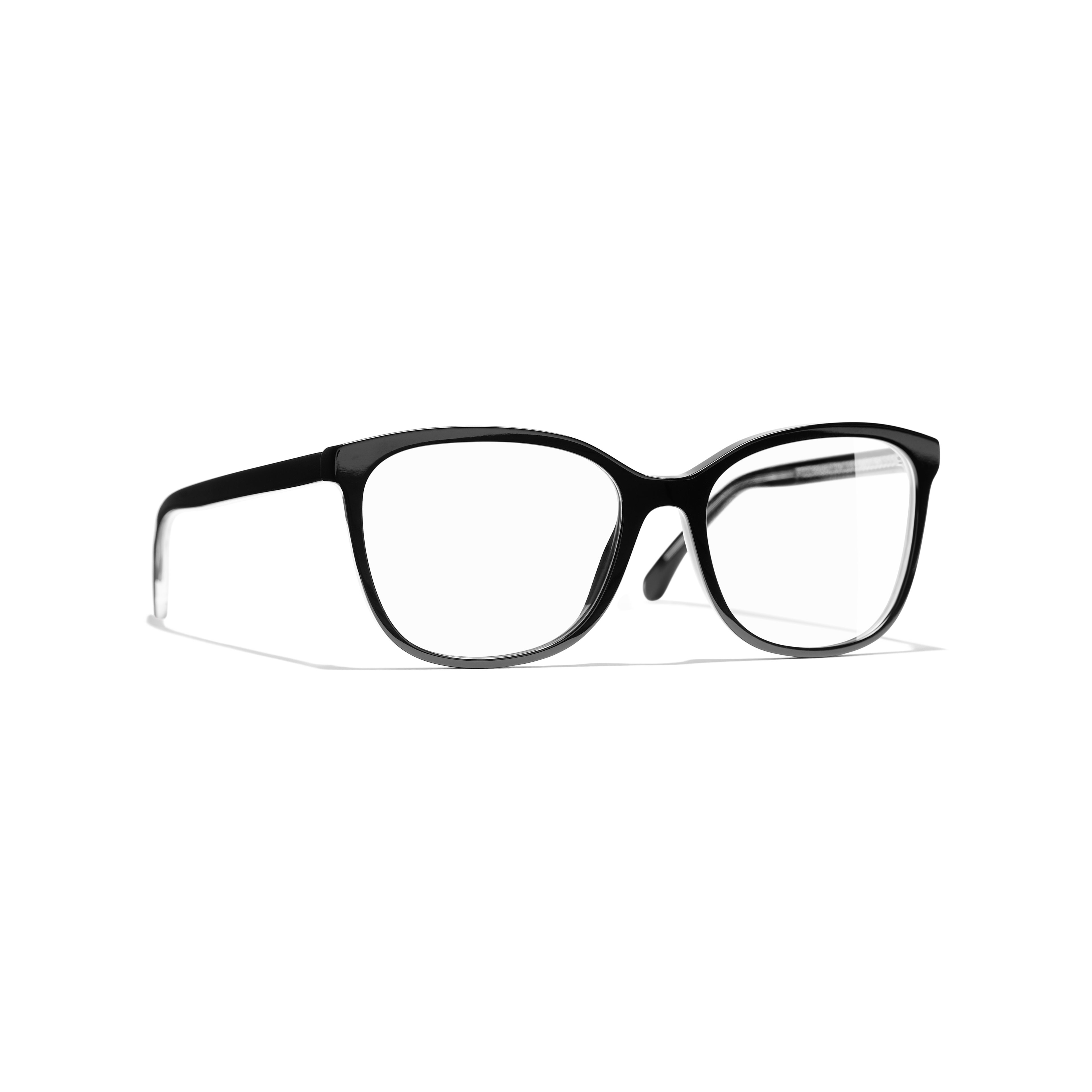 Rectangle Eyeglasses - Black - Acetate & Metal - CHANEL - Default view - see standard sized version