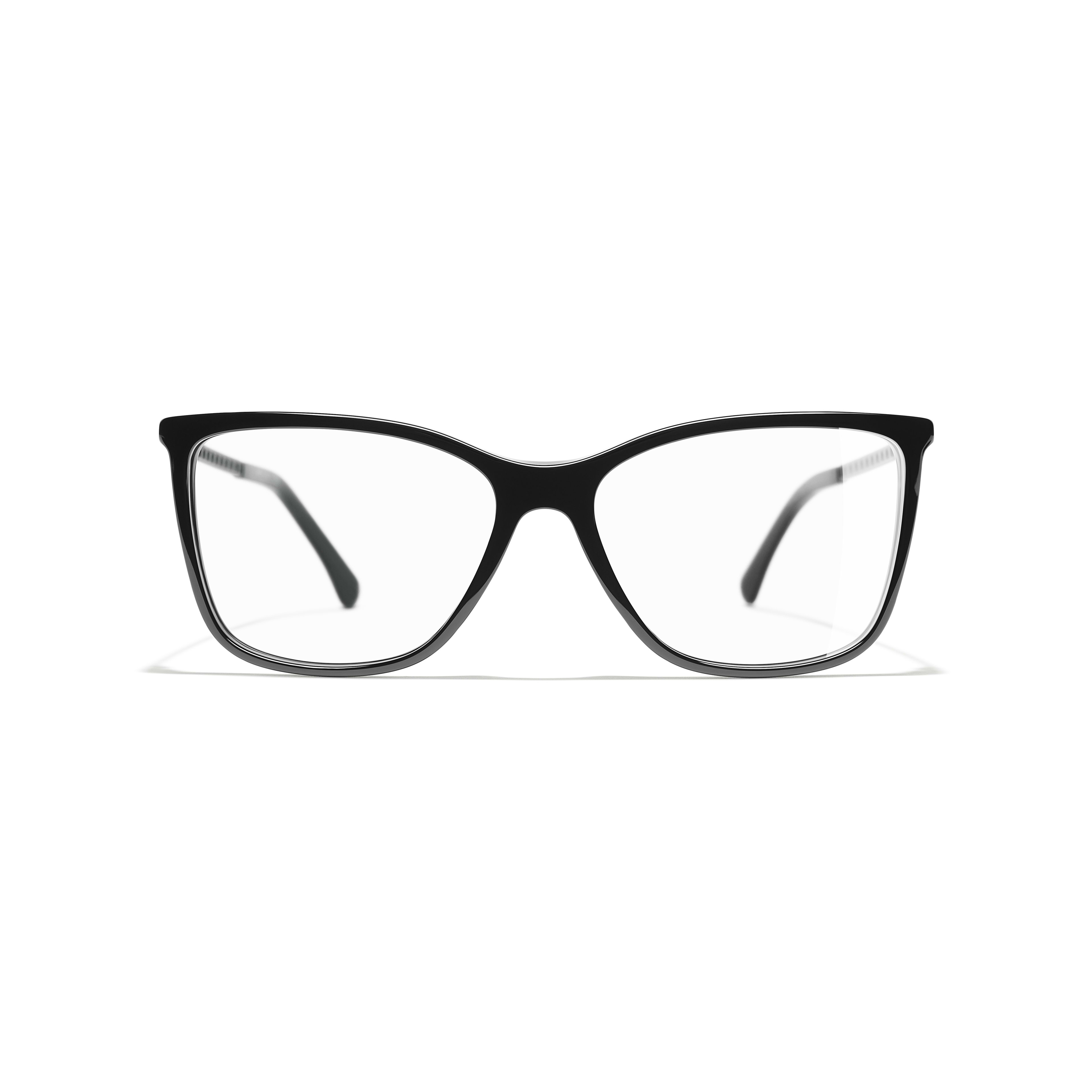 Rectangle Eyeglasses - Black - Acetate & Diamanté - CHANEL - Alternative view - see standard sized version