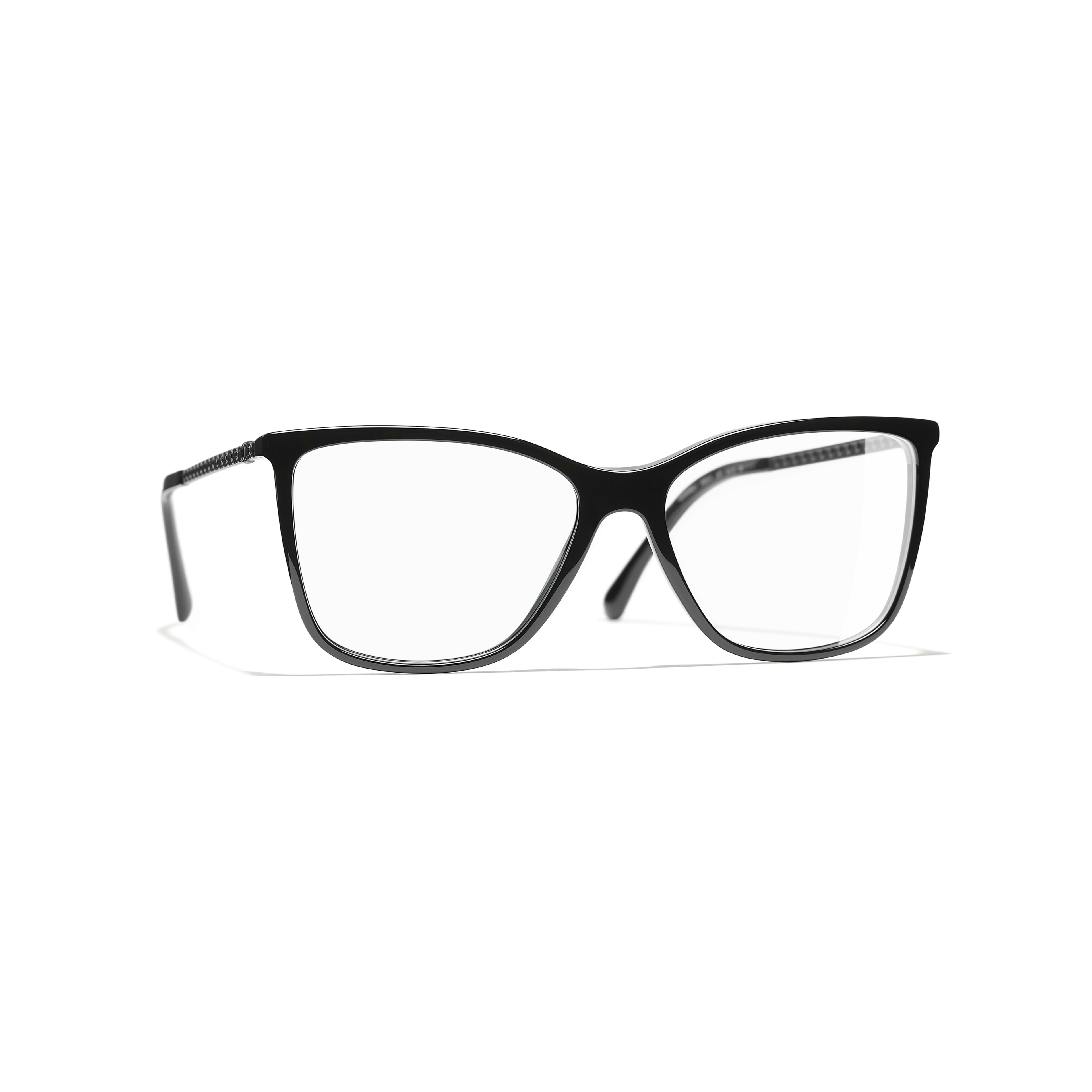 Rectangle Eyeglasses - Black - Acetate & Diamanté - CHANEL - Default view - see standard sized version