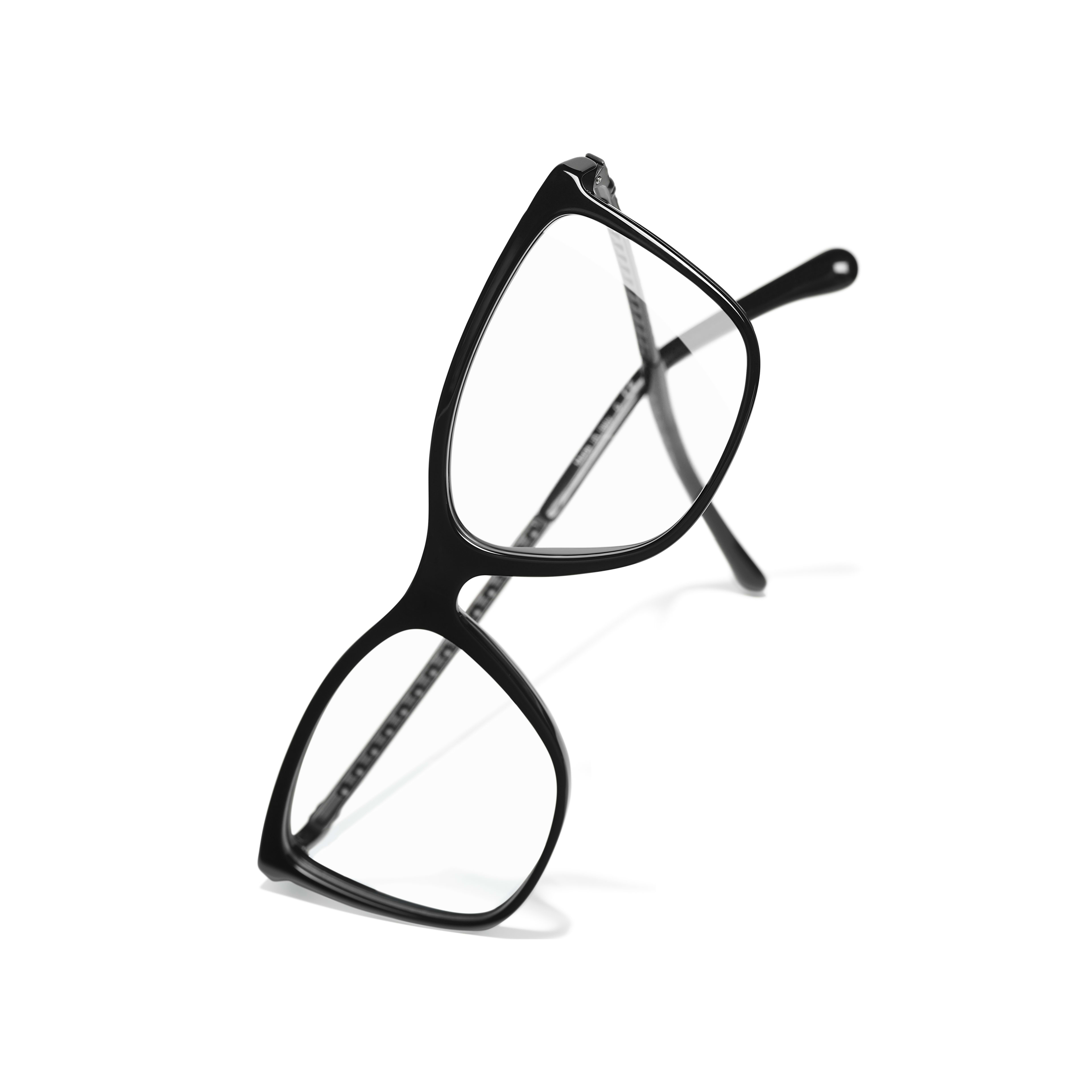 Rectangle Eyeglasses - Black - Acetate & Diamanté - CHANEL - Extra view - see standard sized version