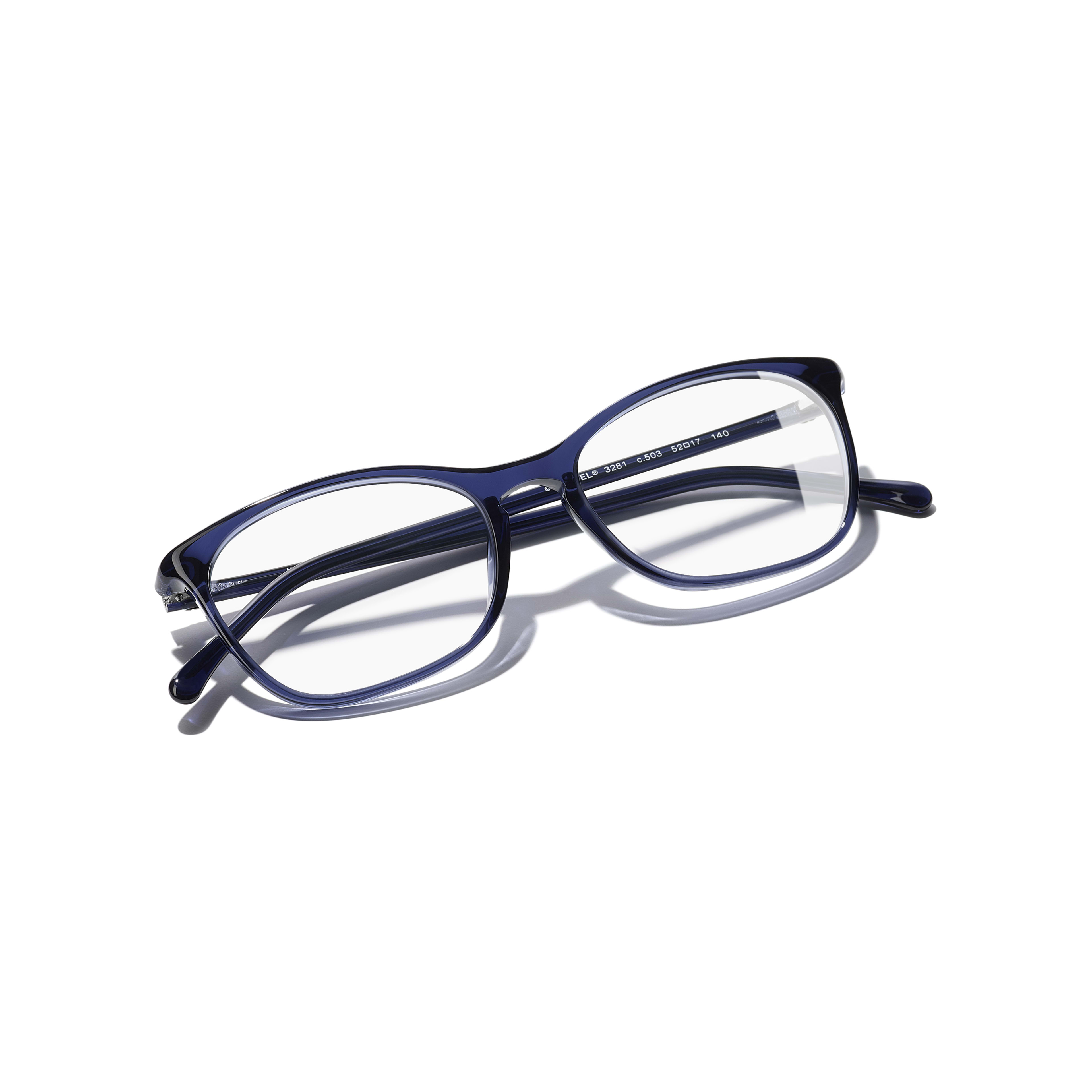 Rectangle Eyeglasses - Dark Blue - Acetate - Extra view - see standard sized version