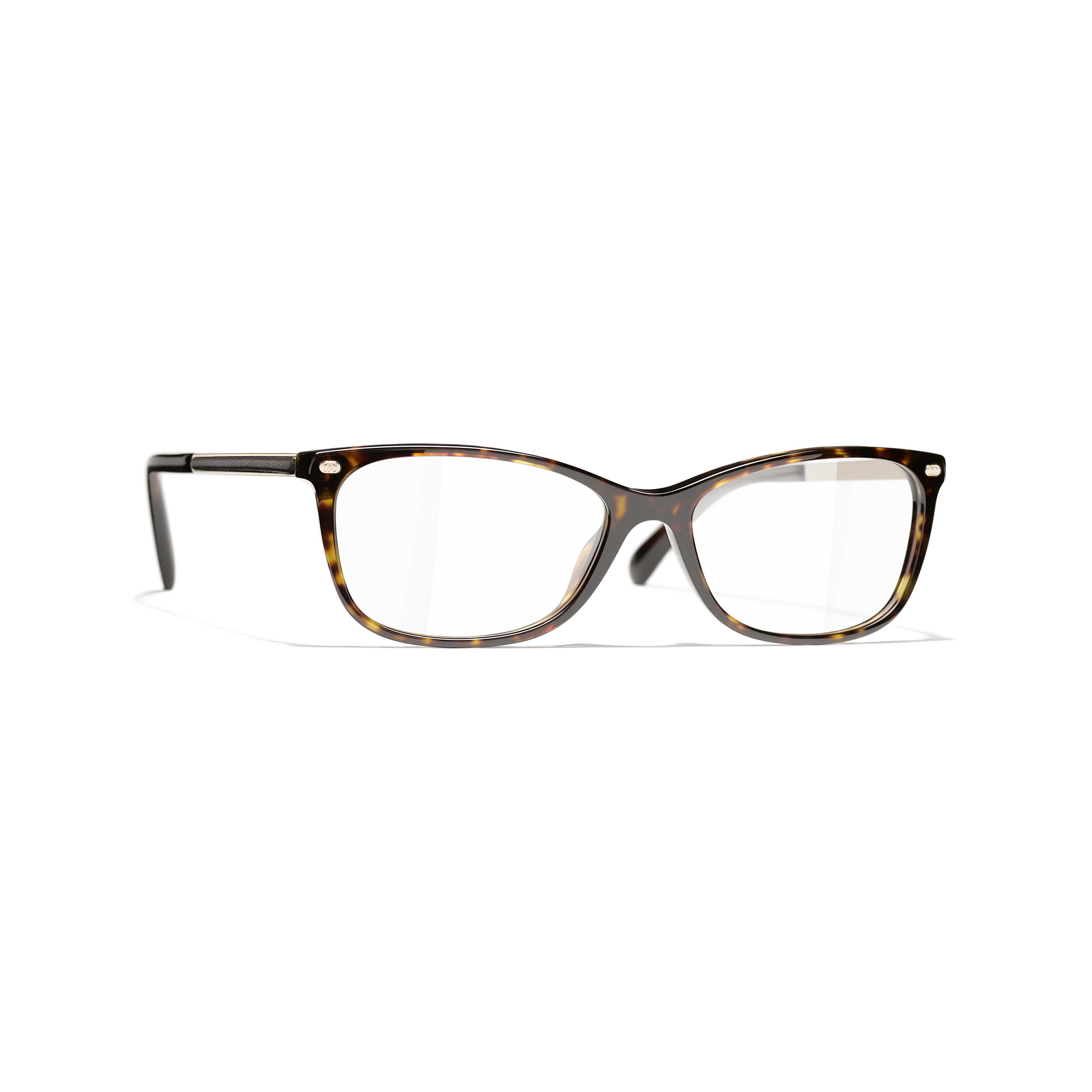 Rectangle Eyeglasses - Dark Tortoise - Acetate & Lambskin - CHANEL - Default view - see standard sized version