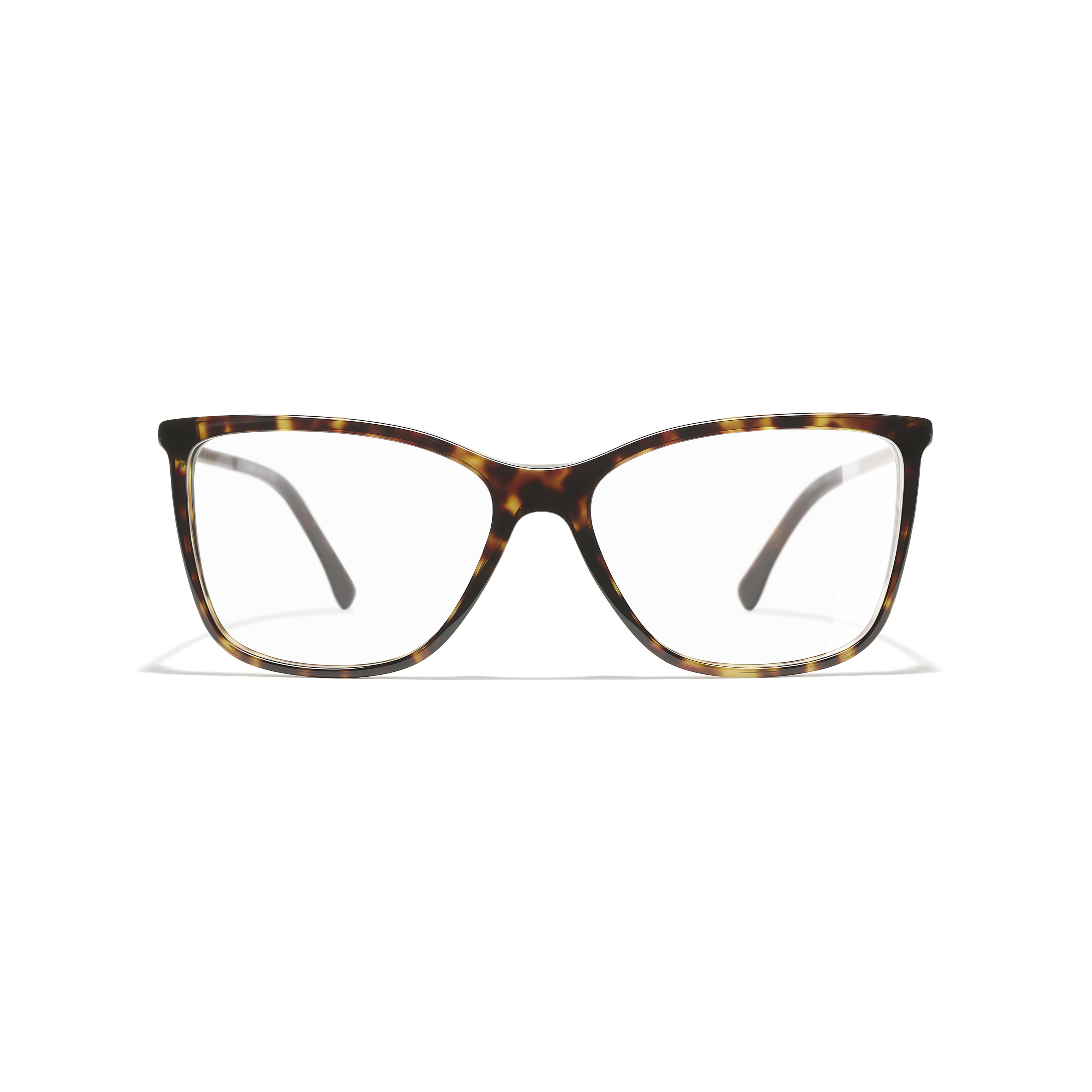 Rectangle Eyeglasses - Dark Tortoise - Acetate & Diamanté - CHANEL - Alternative view - see standard sized version