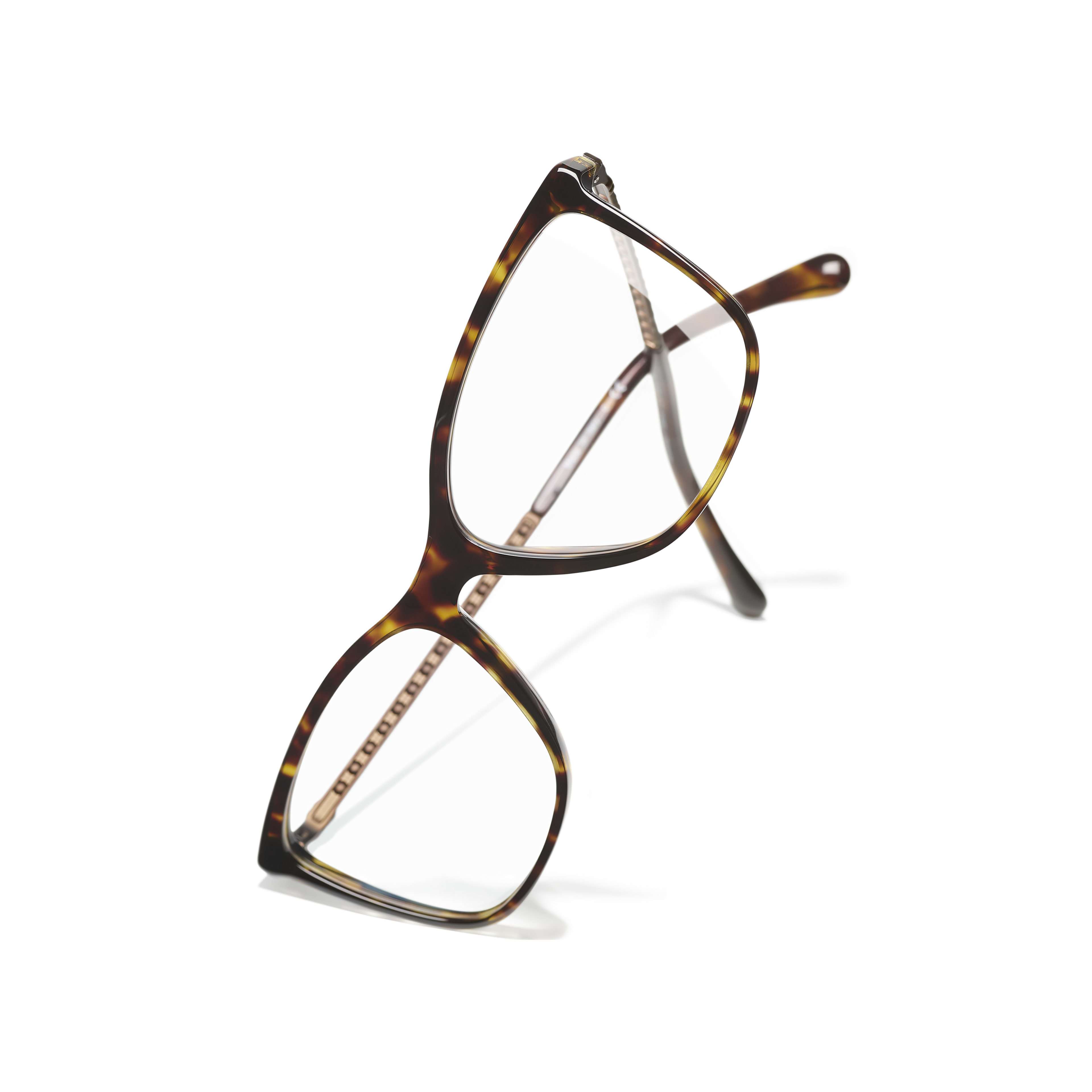 Rectangle Eyeglasses - Dark Tortoise - Acetate & Diamanté - CHANEL - Extra view - see standard sized version