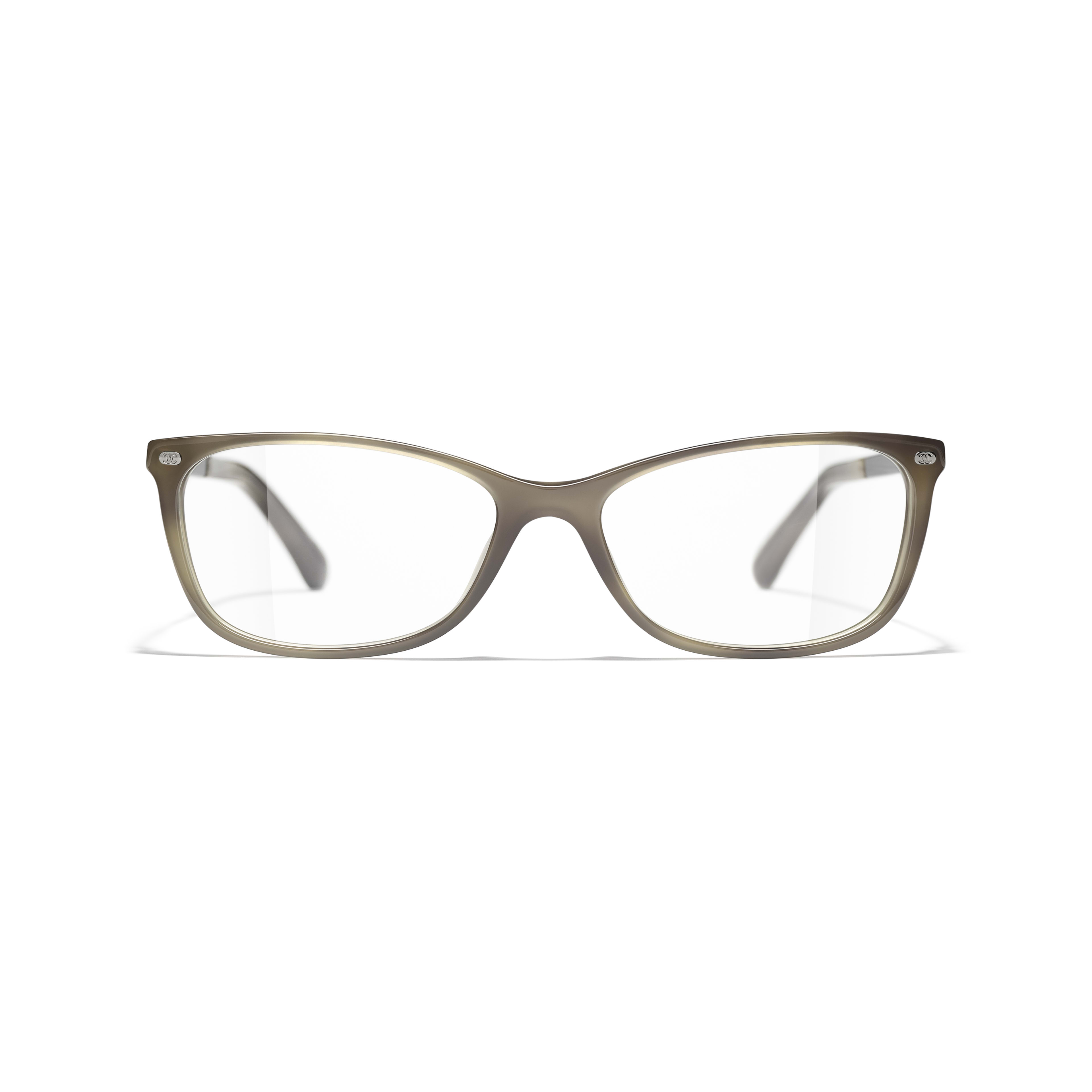 Rectangle Eyeglasses - Grey - Acetate & Calfskin - CHANEL - Alternative view - see standard sized version