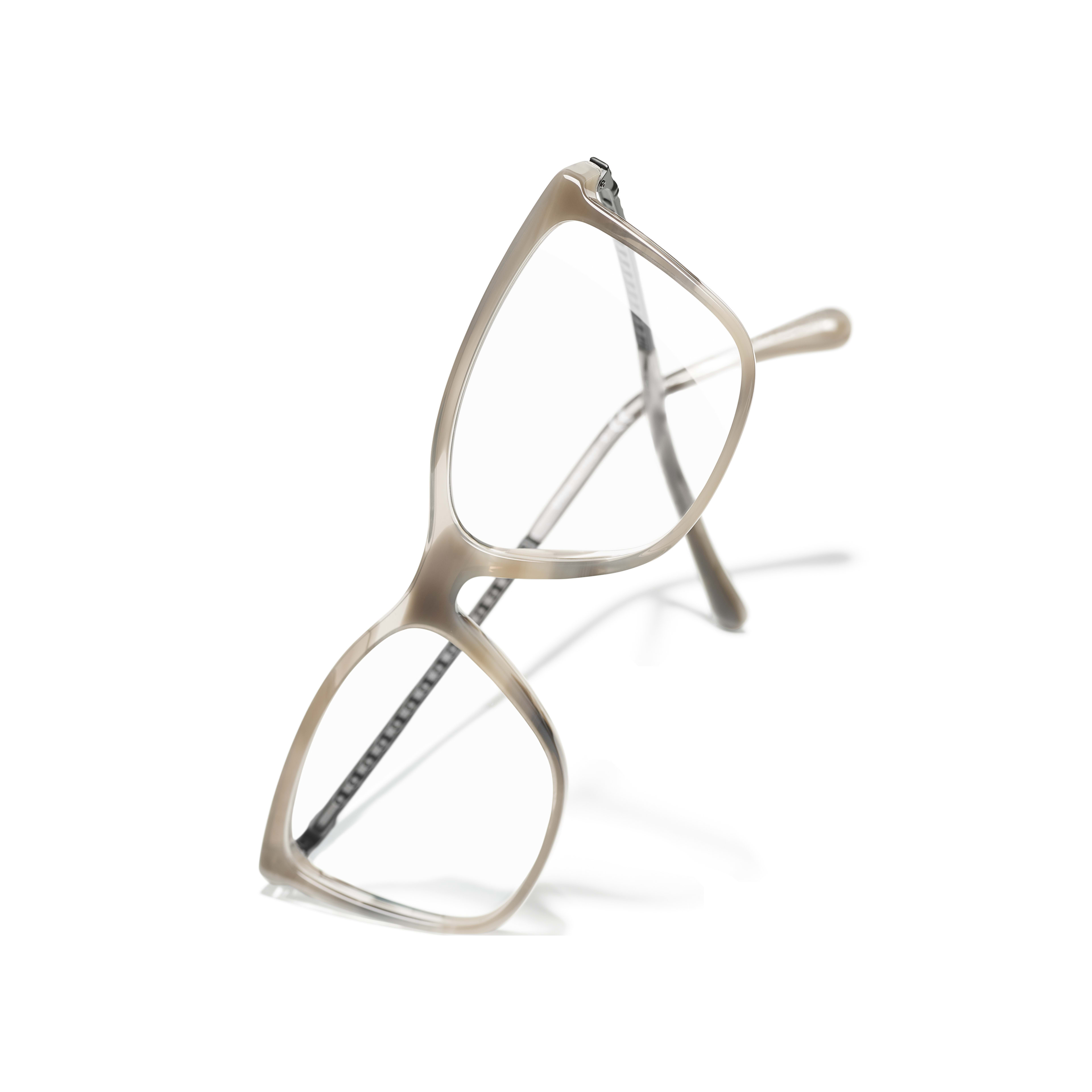 Rectangle Eyeglasses - Grey - Acetate & Strass - Extra view - see standard sized version
