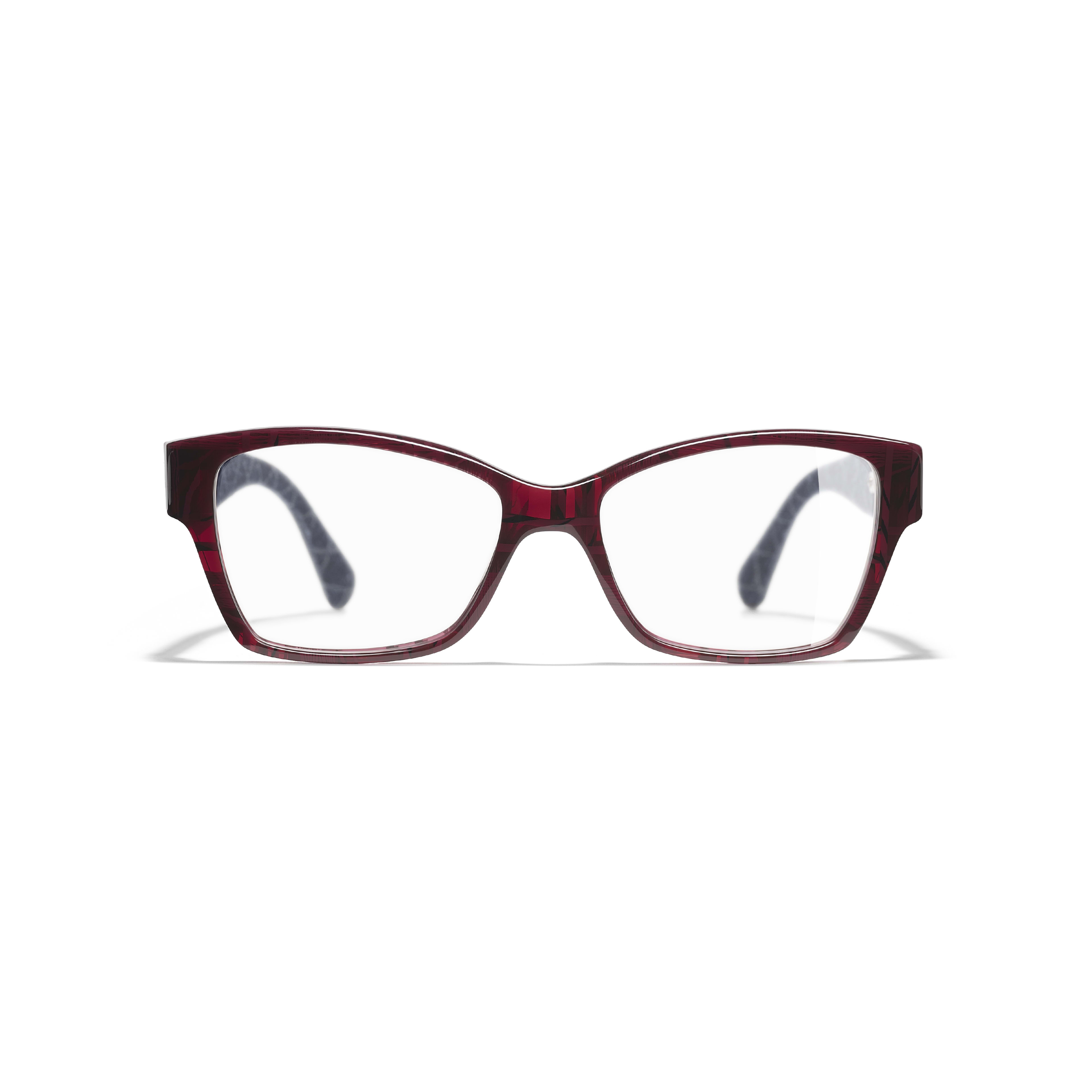Rectangle Eyeglasses - Red & Dark Blue - Acetate & Denim - Alternative view - see standard sized version