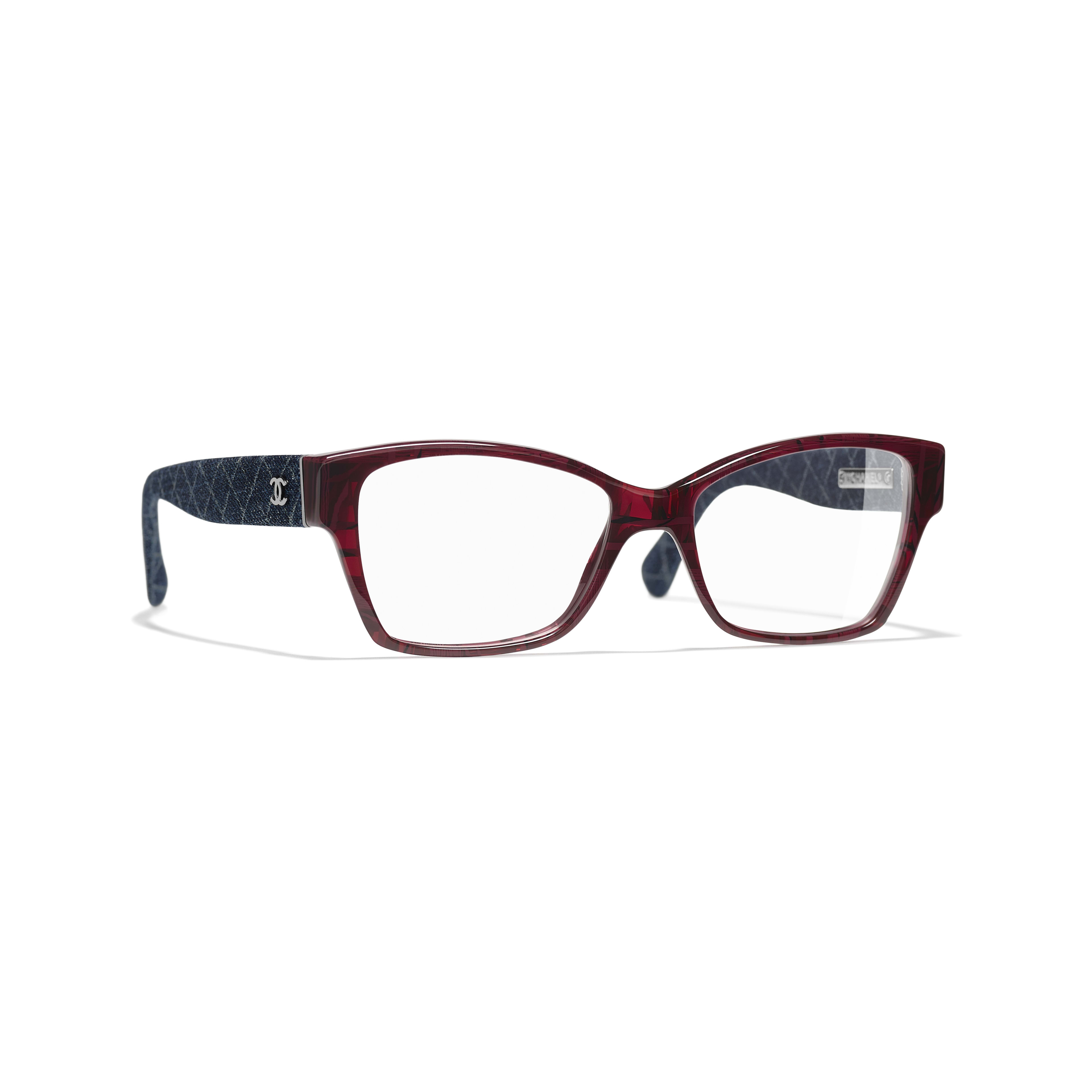 Rectangle Eyeglasses - Red & Dark Blue - Acetate & Denim - Default view - see standard sized version
