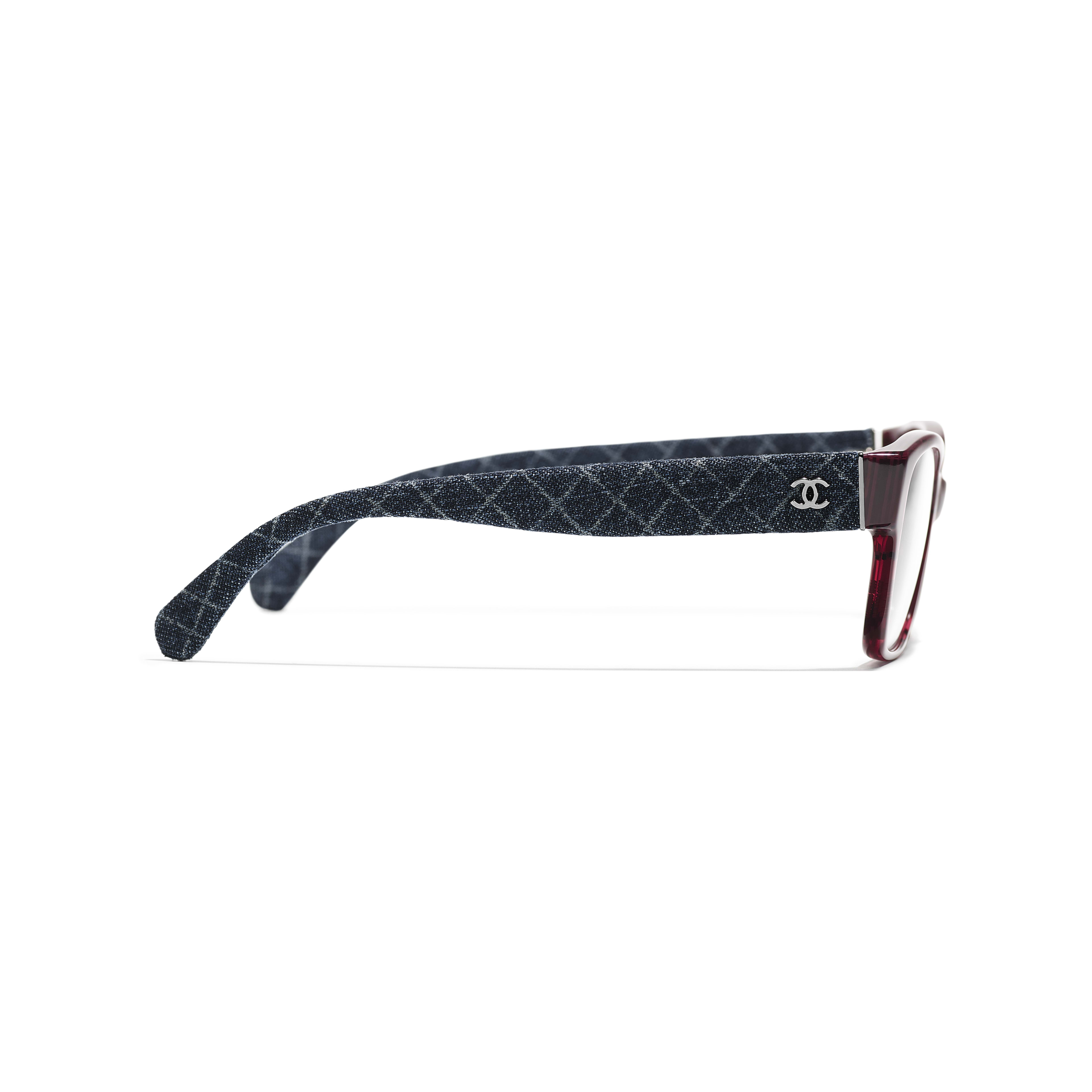 Rectangle Eyeglasses - Red & Dark Blue - Acetate & Denim - Other view - see standard sized version