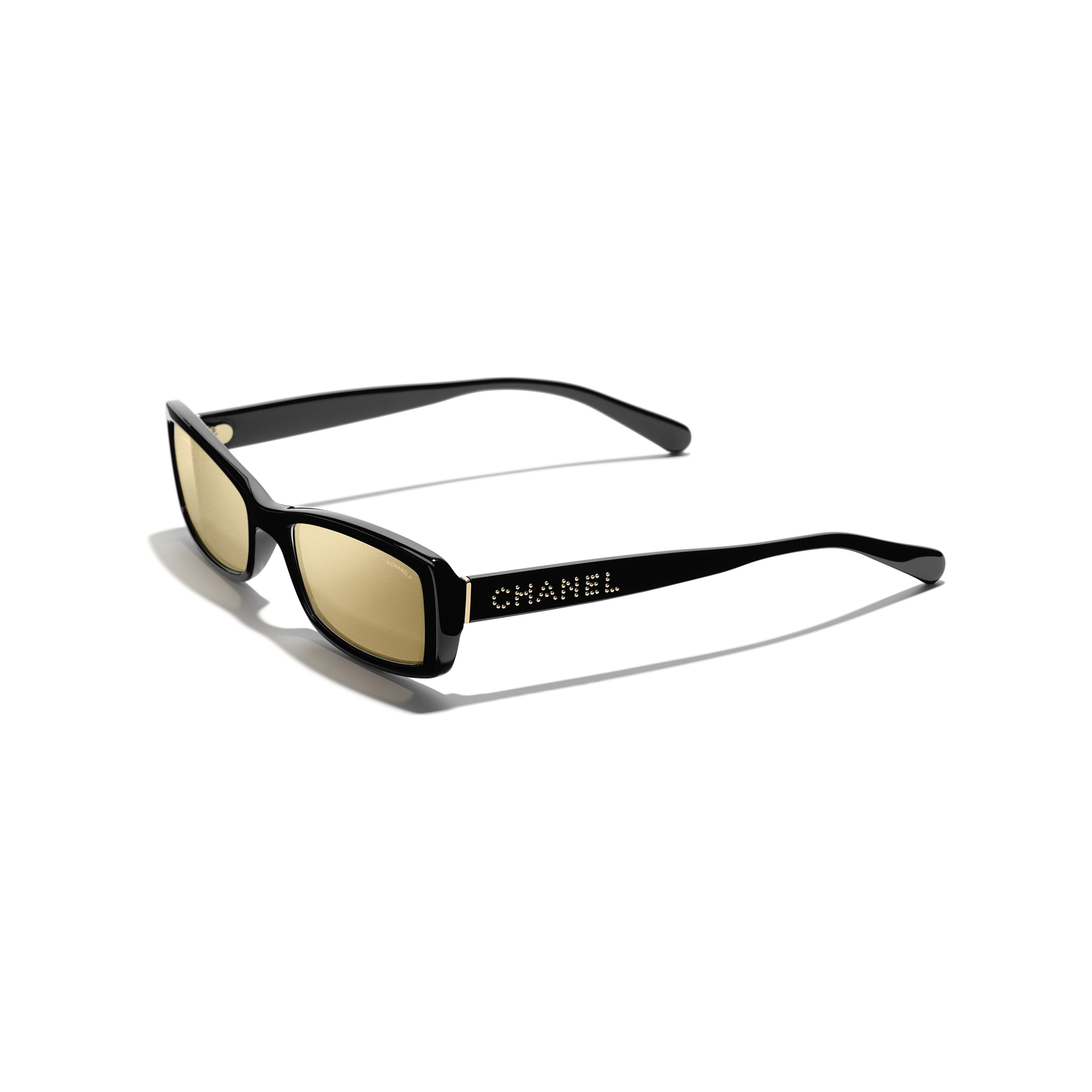 Rectangle Sunglasses - Black - Acetate - Extra view - see standard sized version