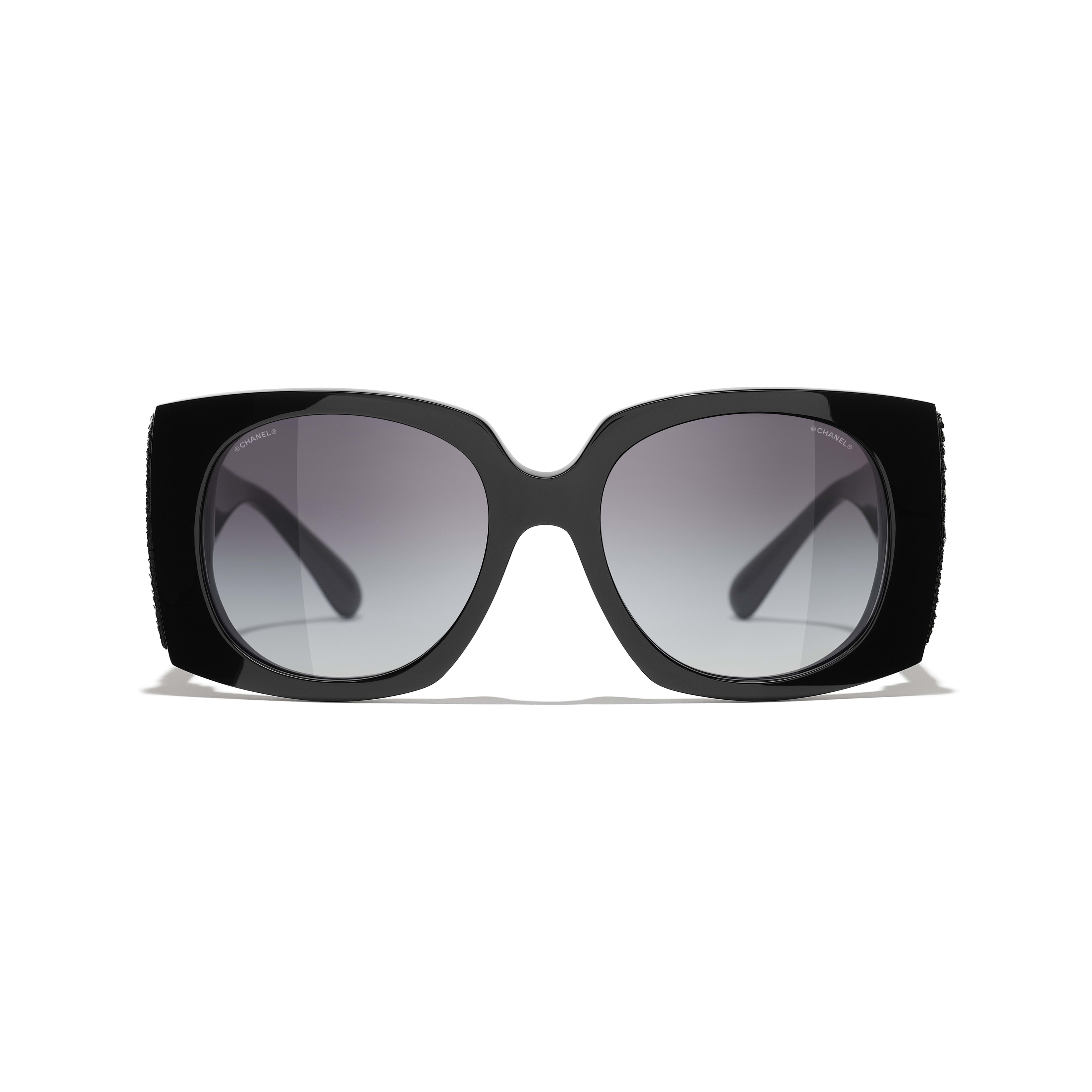 Rectangle Sunglasses - Black - Acetate & Sequins - CHANEL - Alternative view - see standard sized version
