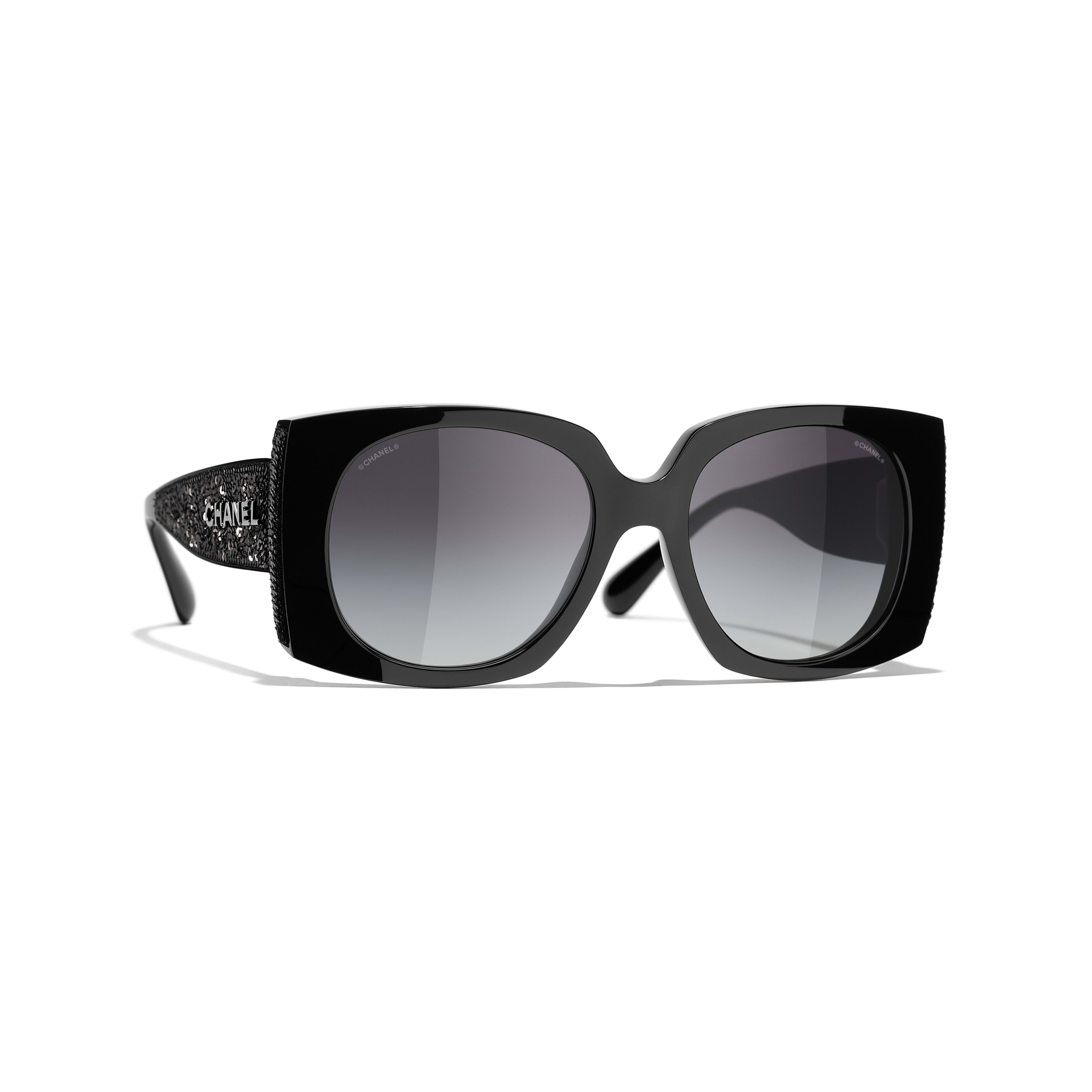 Rectangle Sunglasses - Black - Acetate & Sequins - CHANEL - Default view - see standard sized version