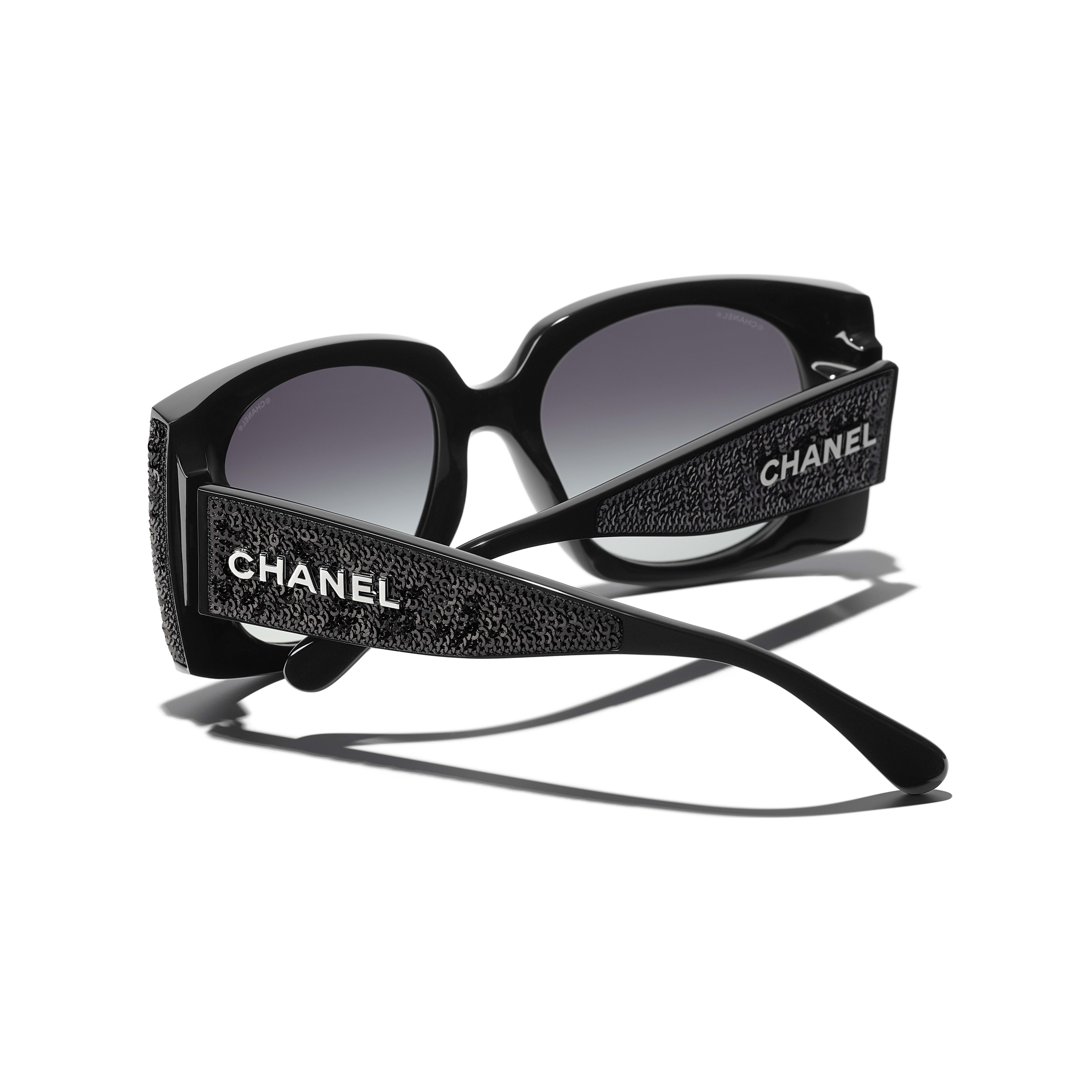 Rectangle Sunglasses - Black - Acetate & Sequins - CHANEL - Extra view - see standard sized version
