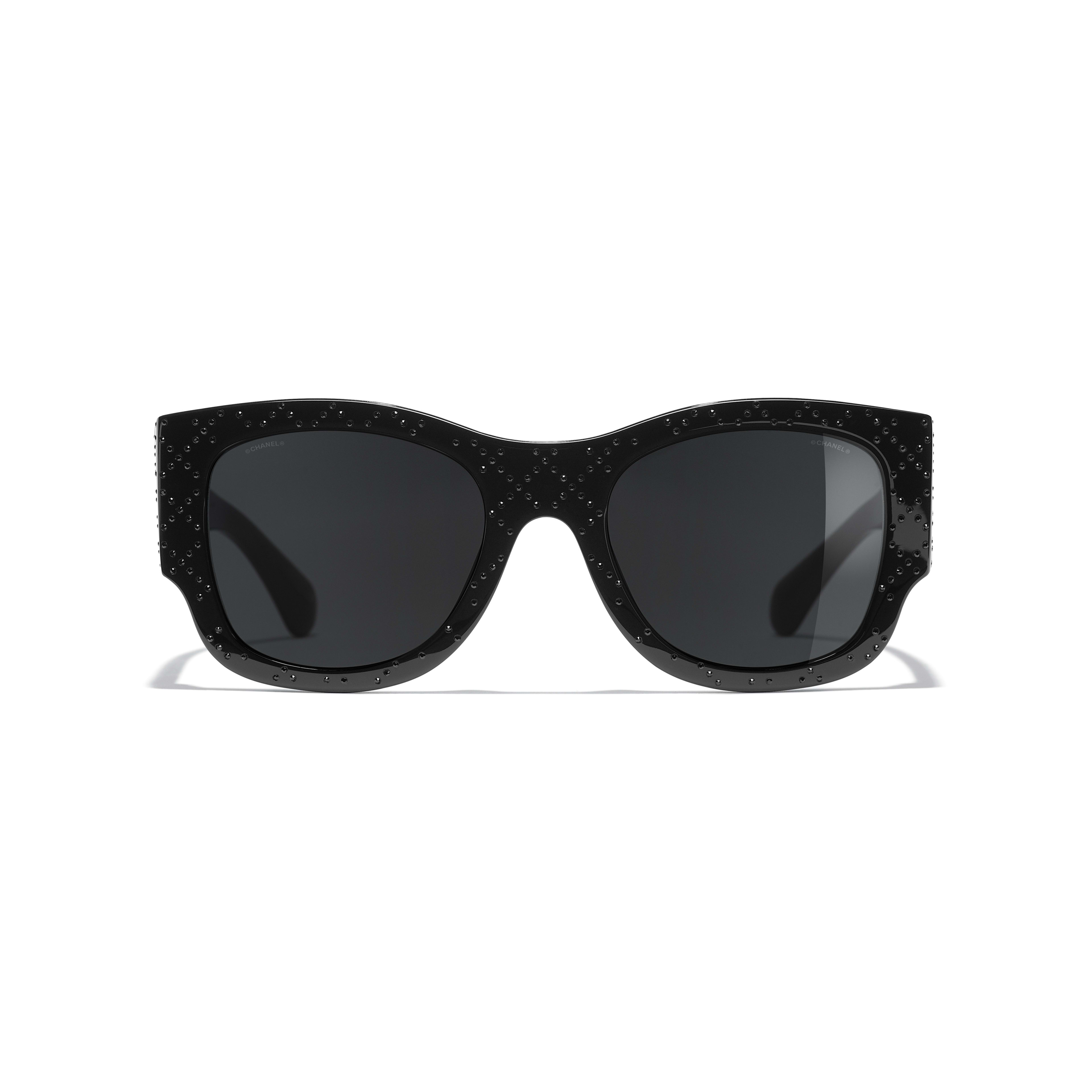 Rectangle Sunglasses - Black - Acetate & Diamanté - CHANEL - Alternative view - see standard sized version