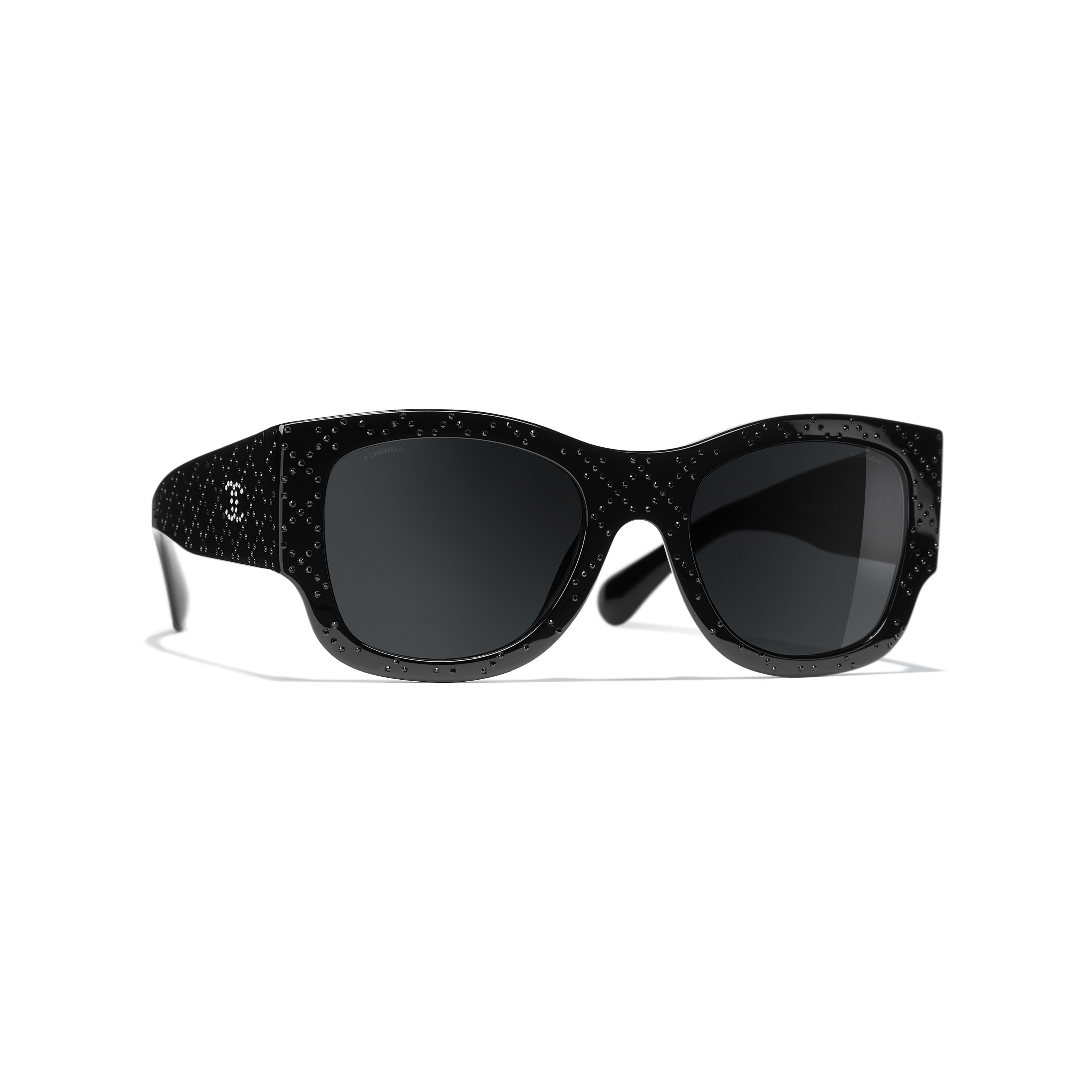 Rectangle Sunglasses - Black - Acetate & Diamanté - CHANEL - Default view - see standard sized version