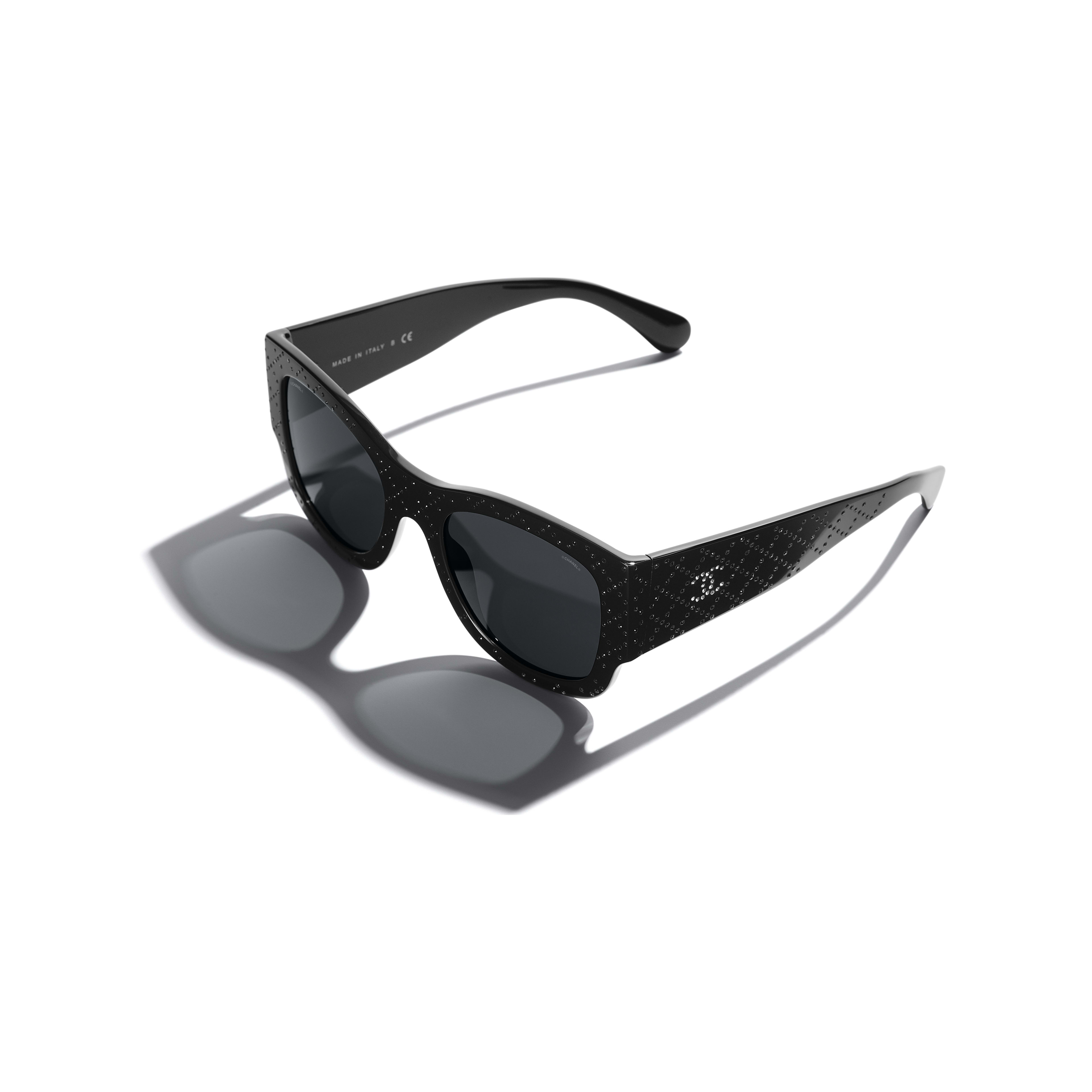 Rectangle Sunglasses - Black - Acetate & Diamanté - CHANEL - Extra view - see standard sized version