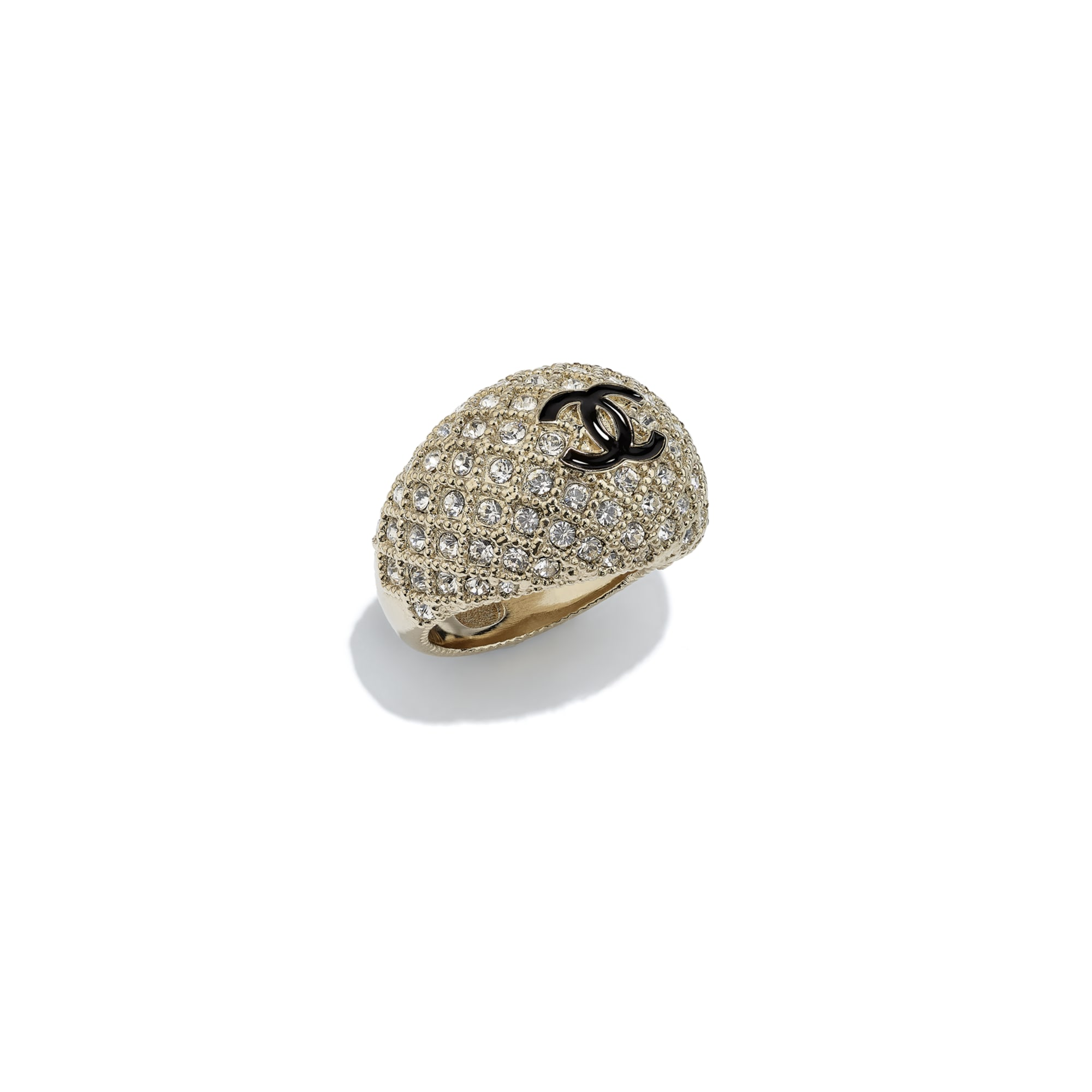 Ring - Gold, Black & Crystal - Metal & Diamantés - CHANEL - Default view - see standard sized version