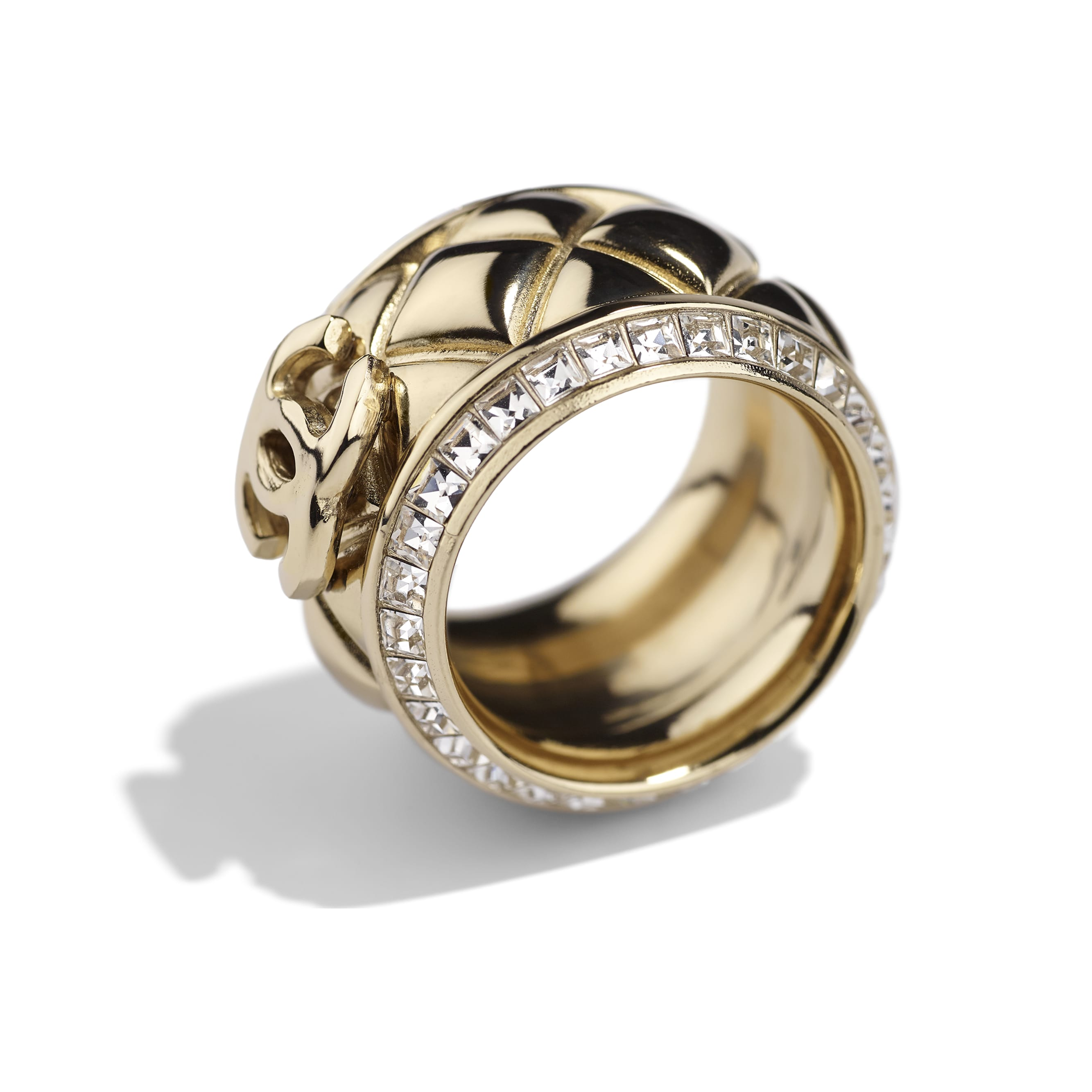 Ring - Gold & Crystal - Metal & Diamantés - Alternative view - see standard sized version