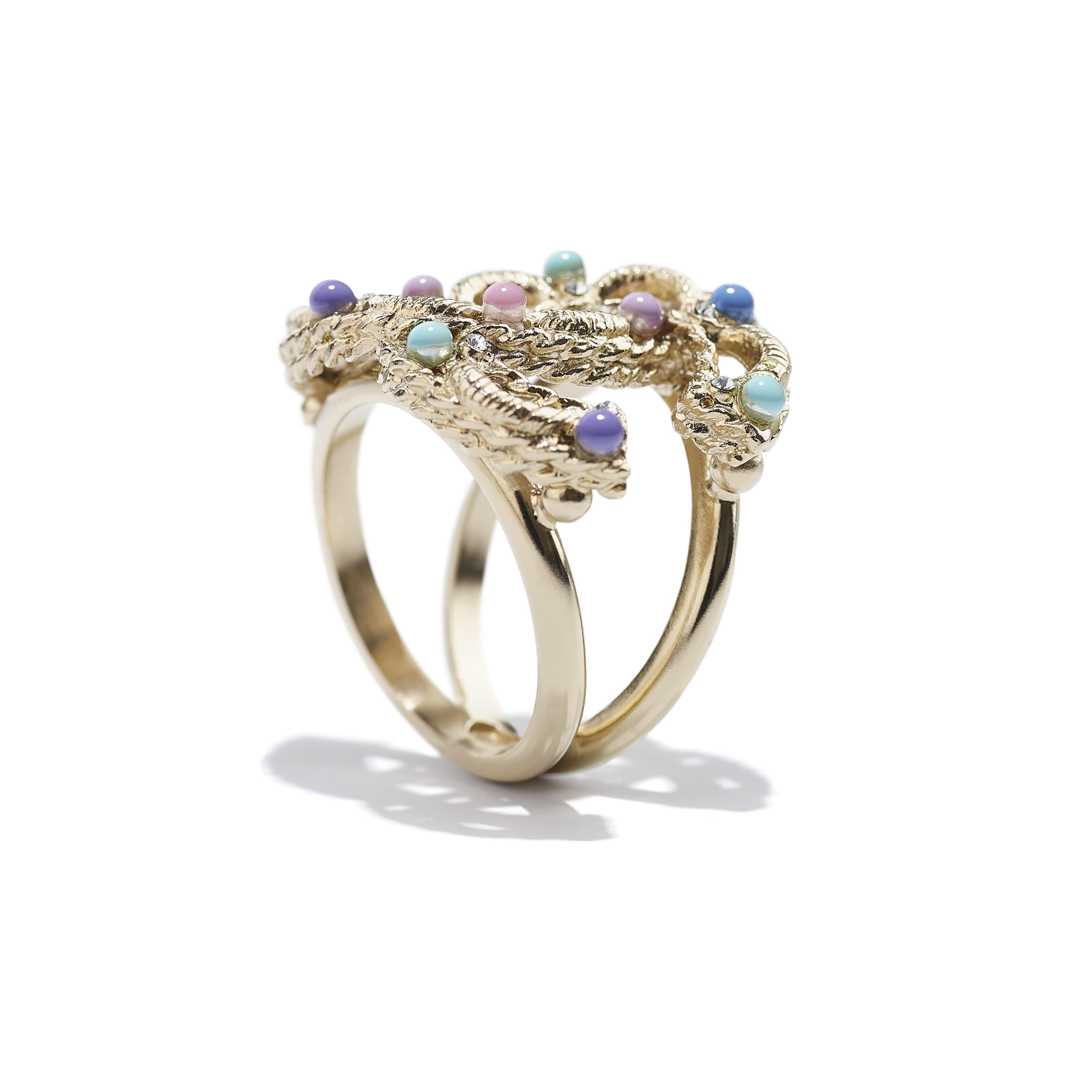 Ring - Gold, Multicolour & Crystal - Metal, Glass Pearls & Diamantés - CHANEL - Alternative view - see standard sized version