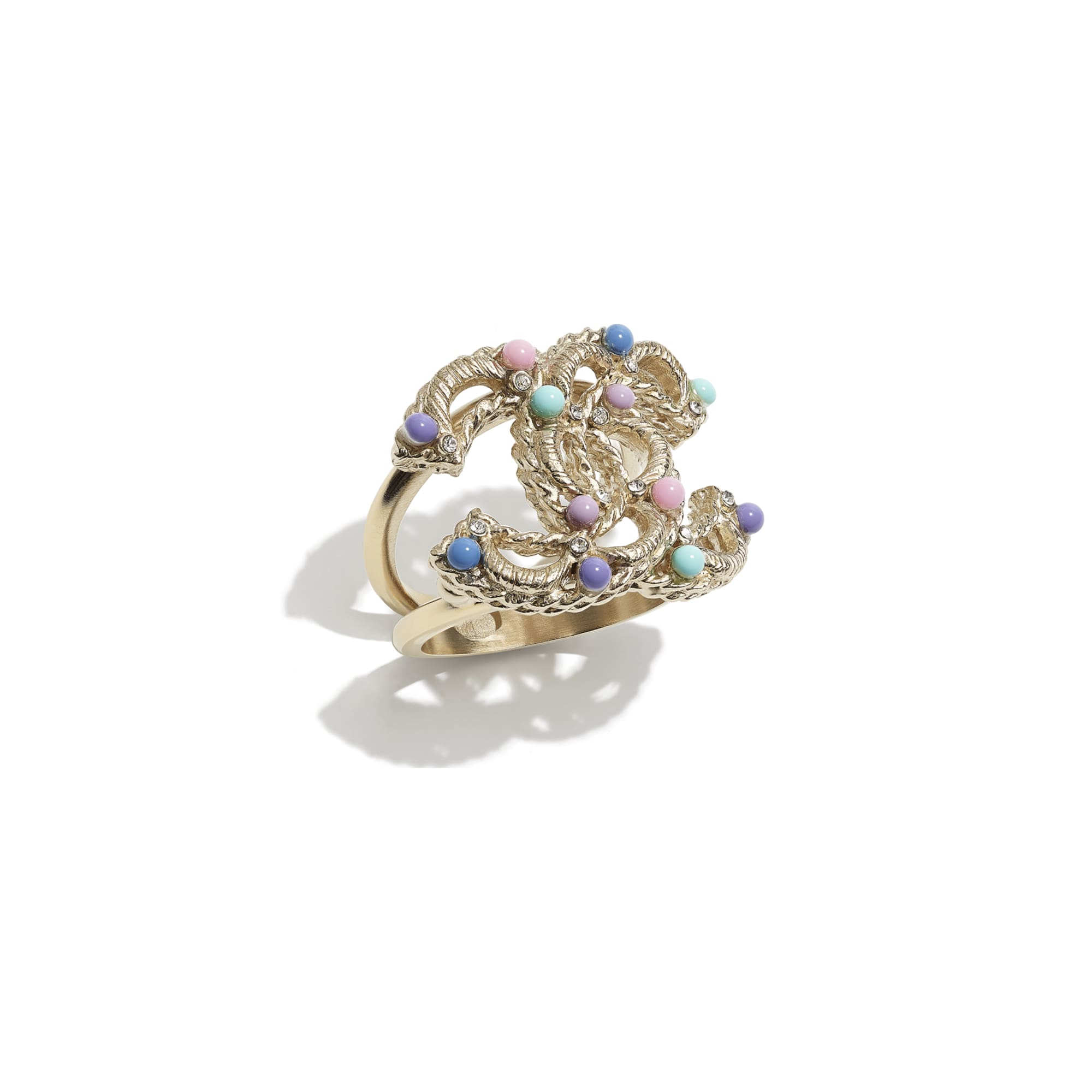 Ring - Gold, Multicolour & Crystal - Metal, Glass Pearls & Diamantés - CHANEL - Default view - see standard sized version