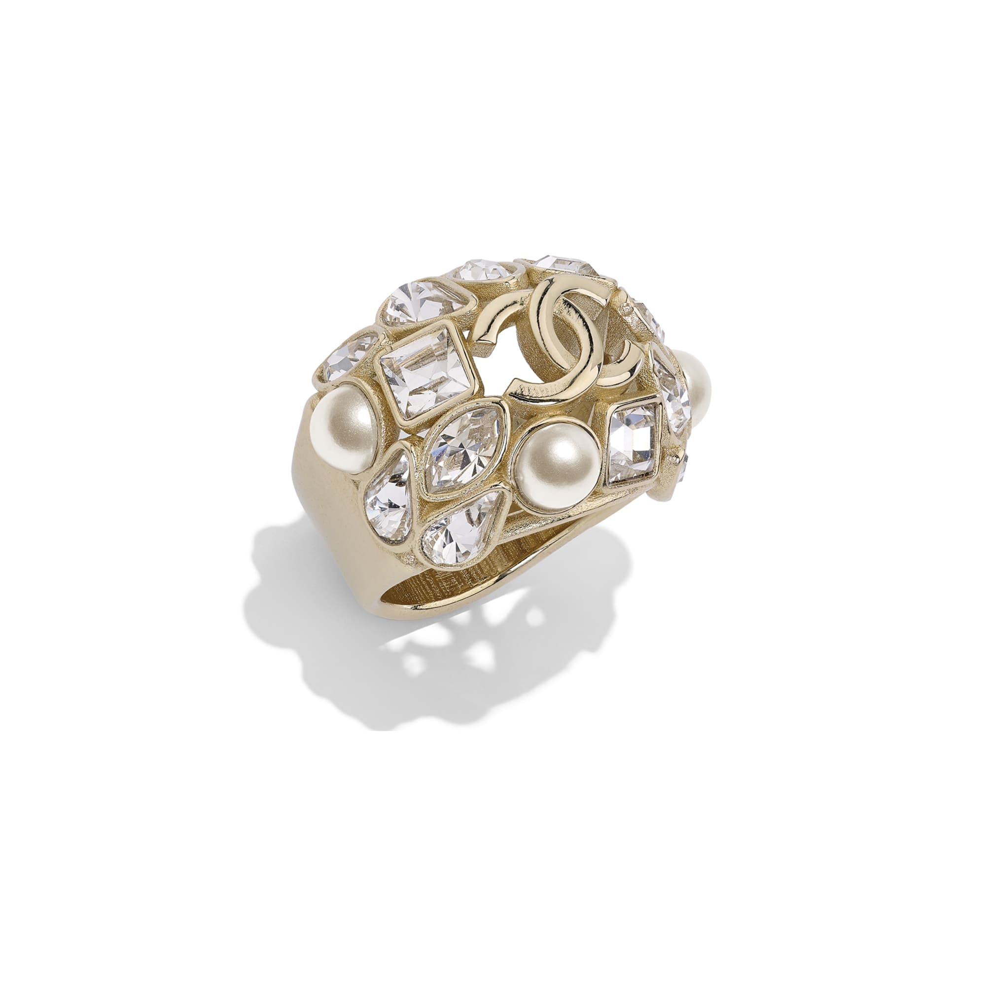 Ring - Gold, Pearly White & Crystal - Metal, Glass Pearls & Diamantés - Default view - see standard sized version