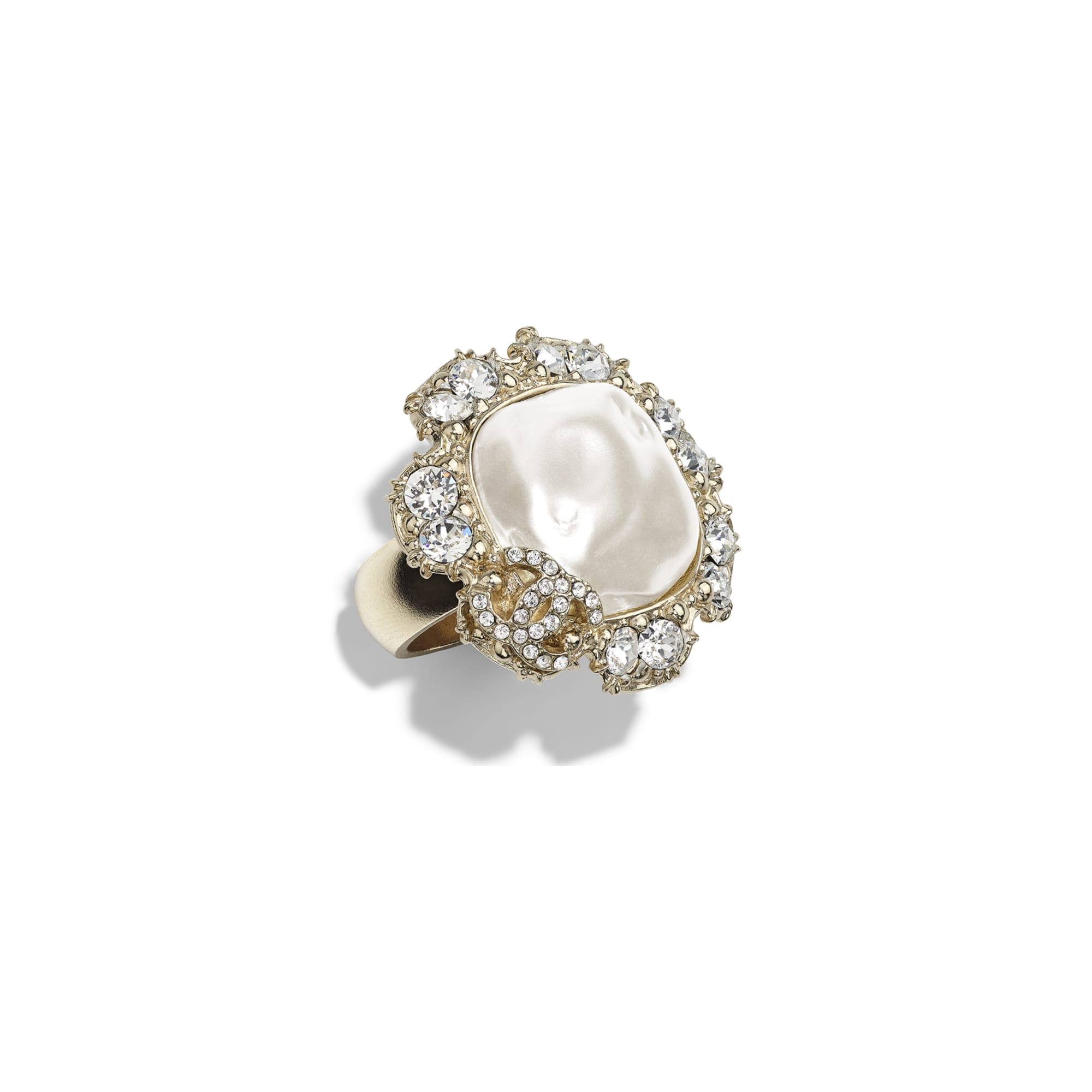 Ring - Gold, Pearly White & Crystal - Metal, Imitation Pearls & Diamanté - Default view - see standard sized version