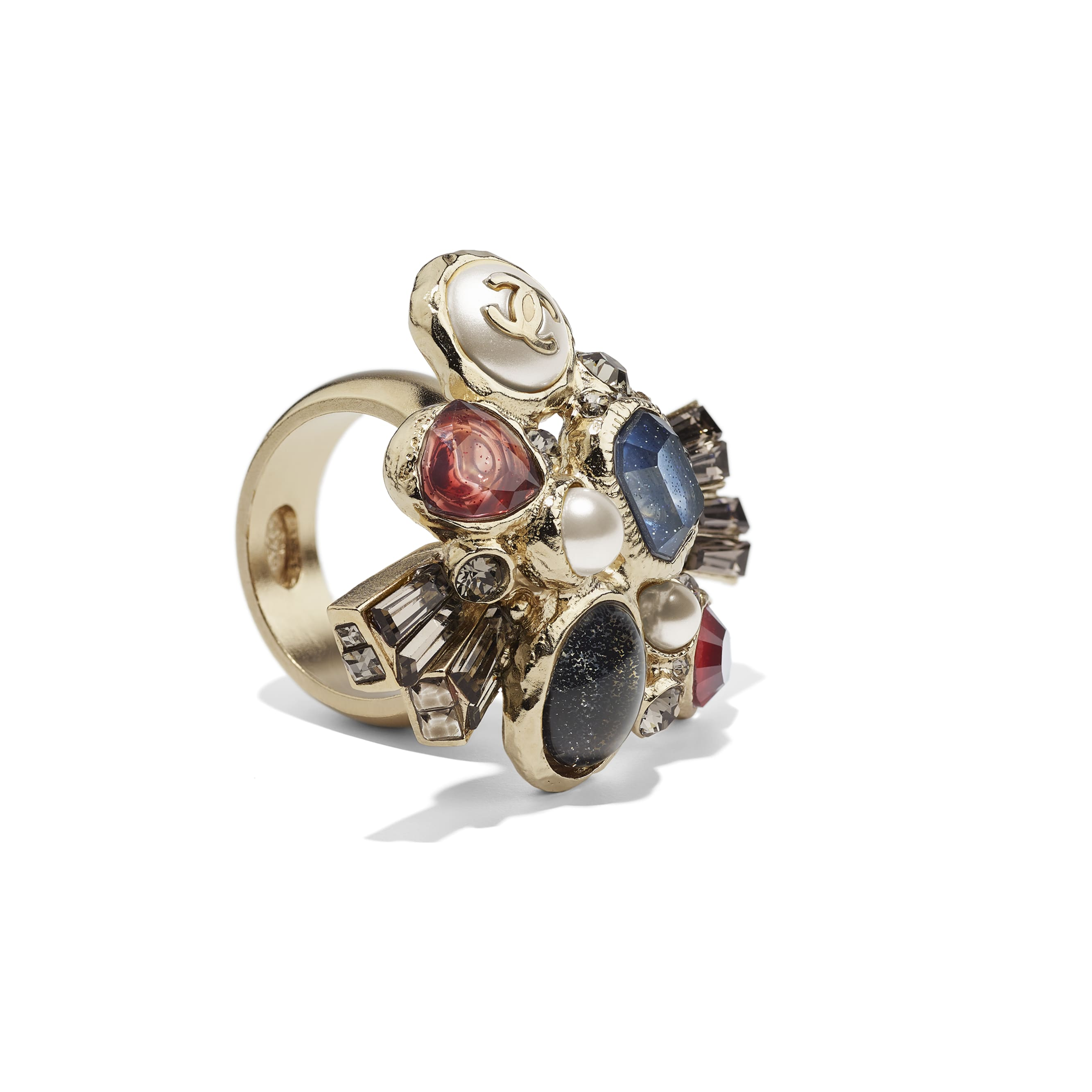 Ring - Gold, Pearly White, Crystal, Navy Blue & Burgundy - Metal, Glass Pearls, Strass & Resin - CHANEL - Alternative view - see standard sized version