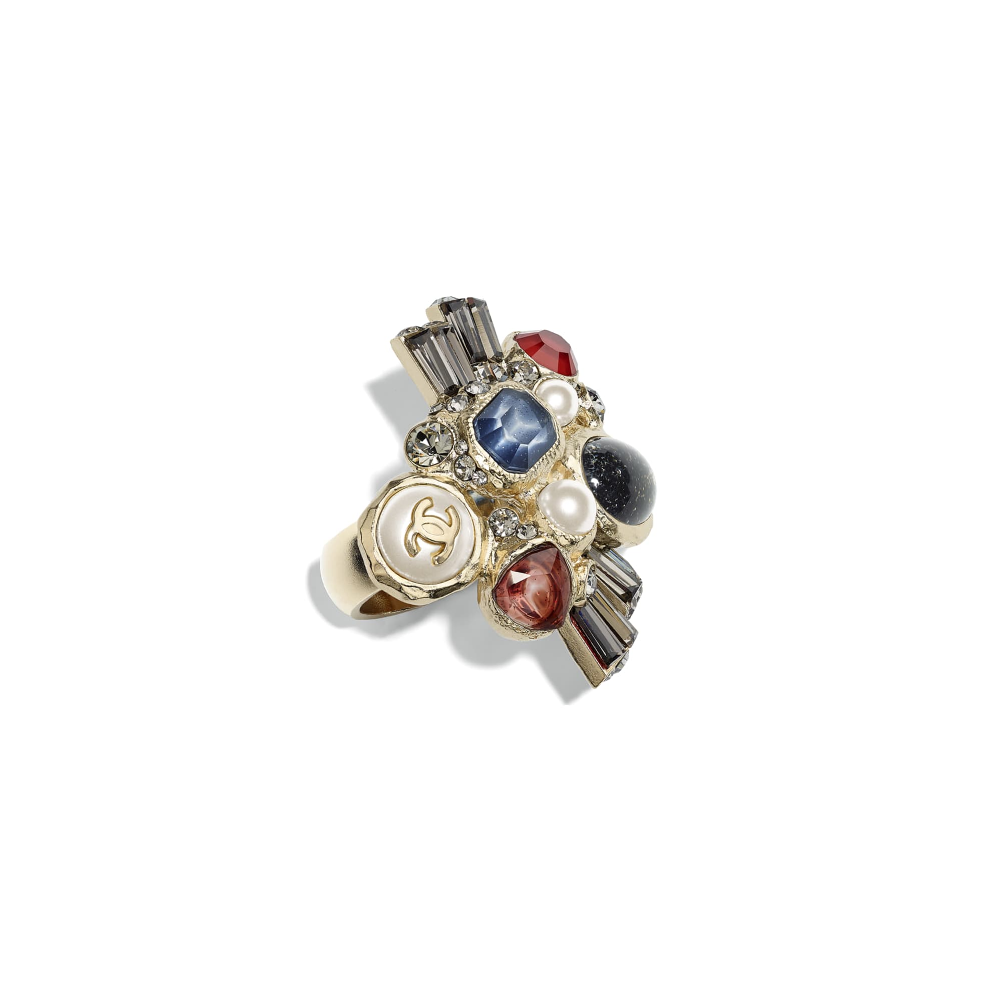 Ring - Gold, Pearly White, Crystal, Navy Blue & Burgundy - Metal, Glass Pearls, Strass & Resin - CHANEL - Default view - see standard sized version