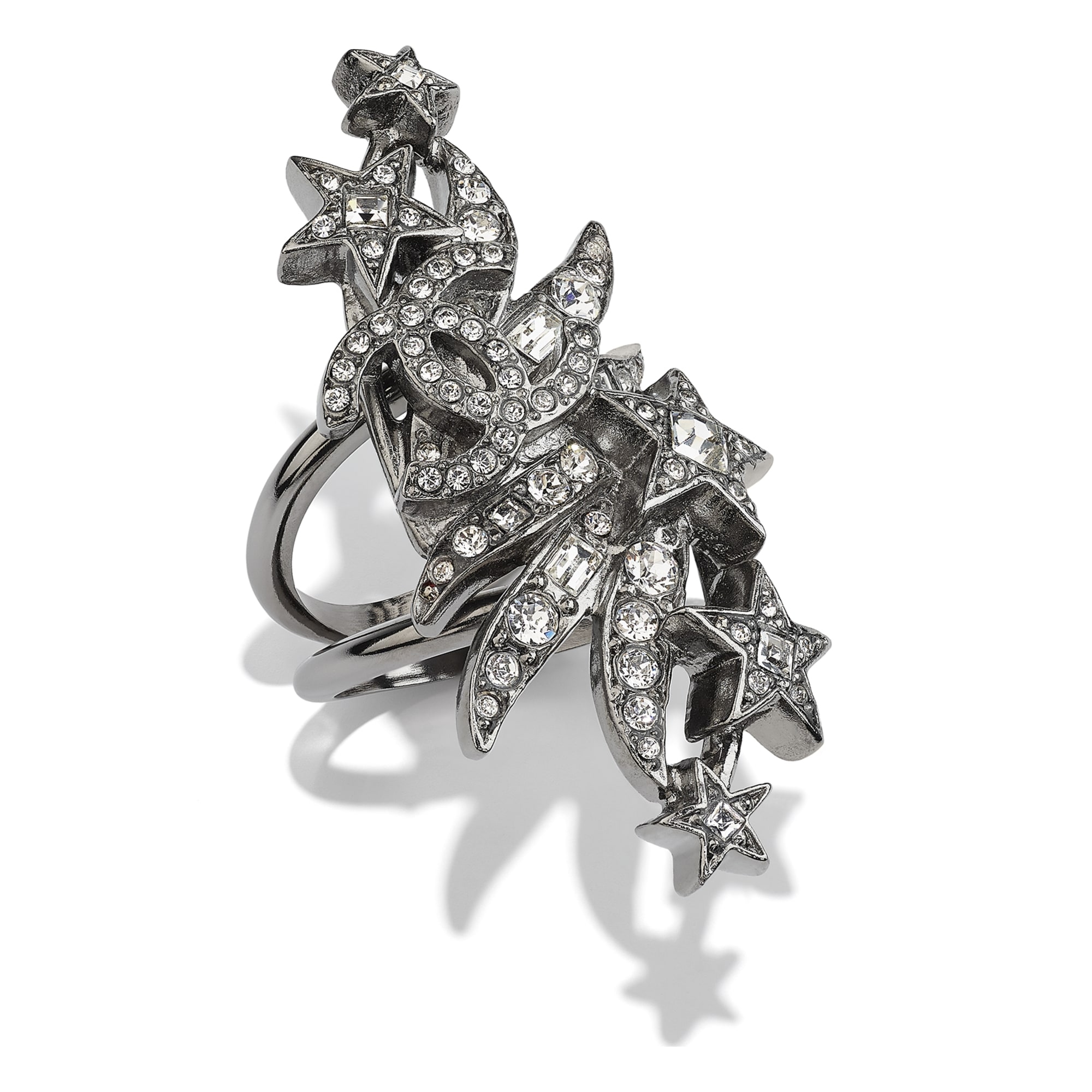 Ring - Ruthenium & Crystal - Metal & Diamantés - CHANEL - Default view - see standard sized version