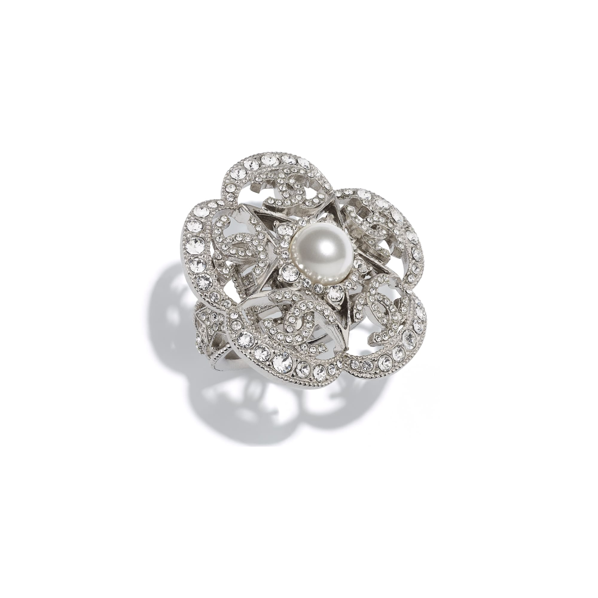 Ring - Silver, Pearly White & Crystal - Metal, Glass Pearls & Diamantés - Default view - see standard sized version