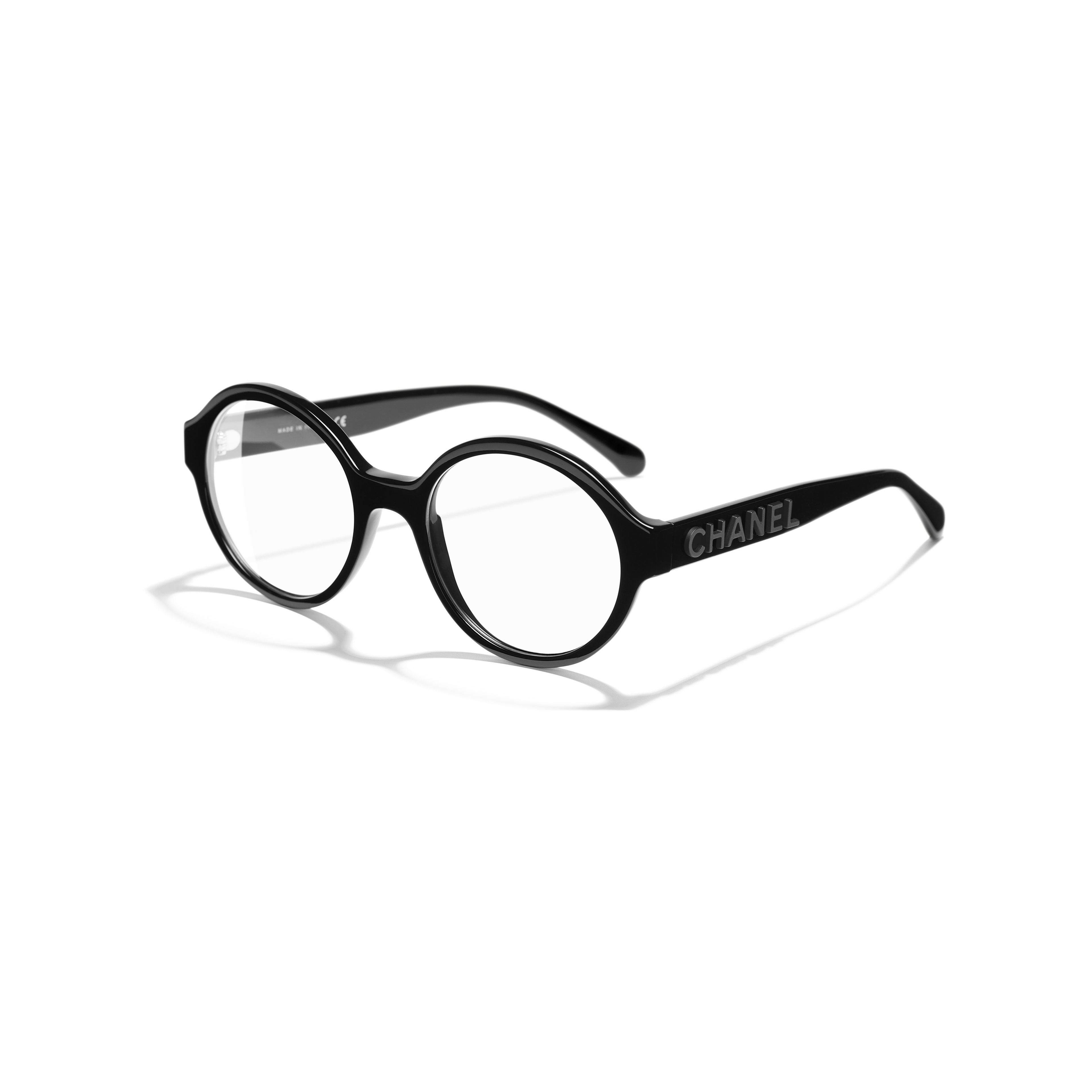 Round Eyeglasses - Black - Acetate - CHANEL - Extra view - see standard sized version