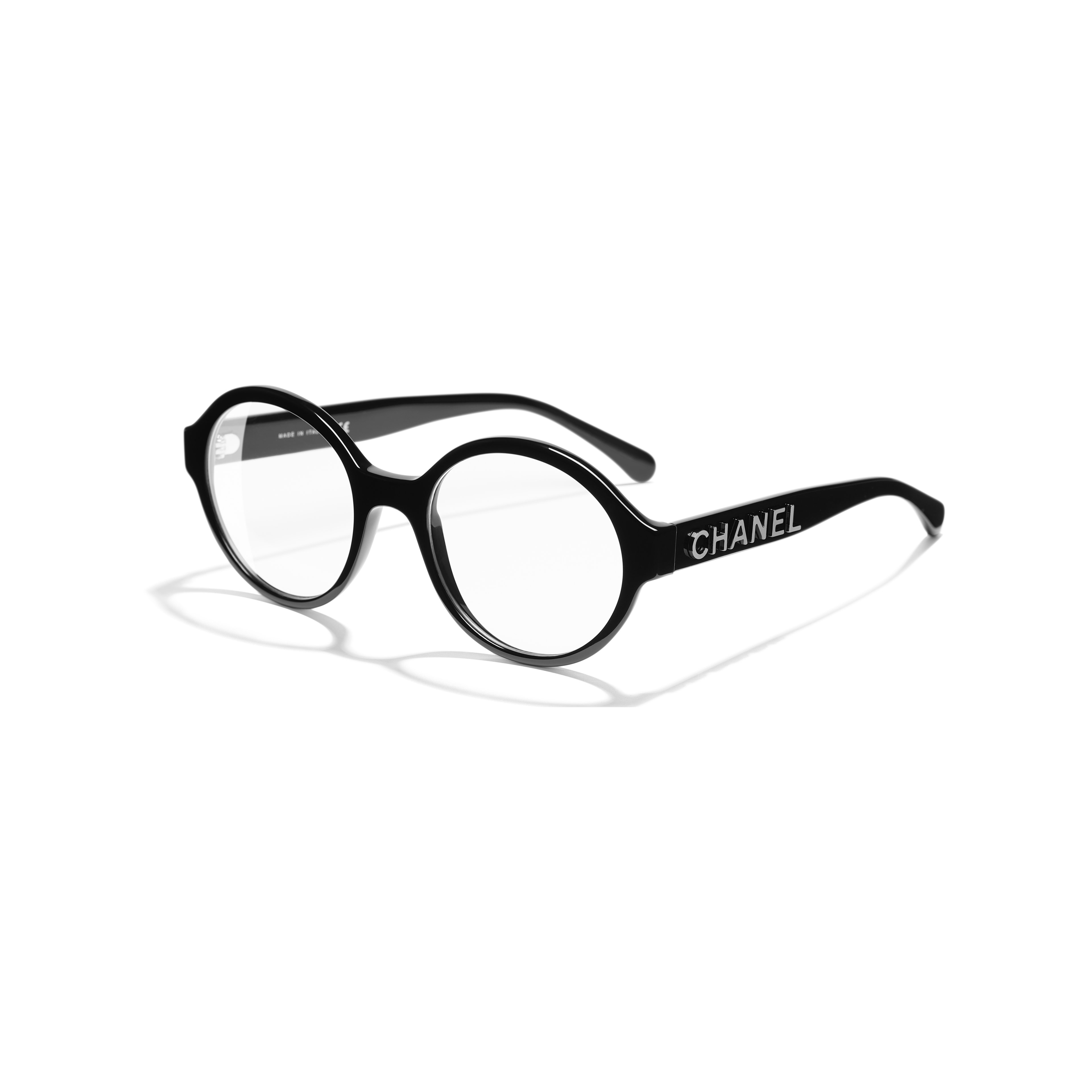 Round Eyeglasses - Black - Acetate - Extra view - see standard sized version