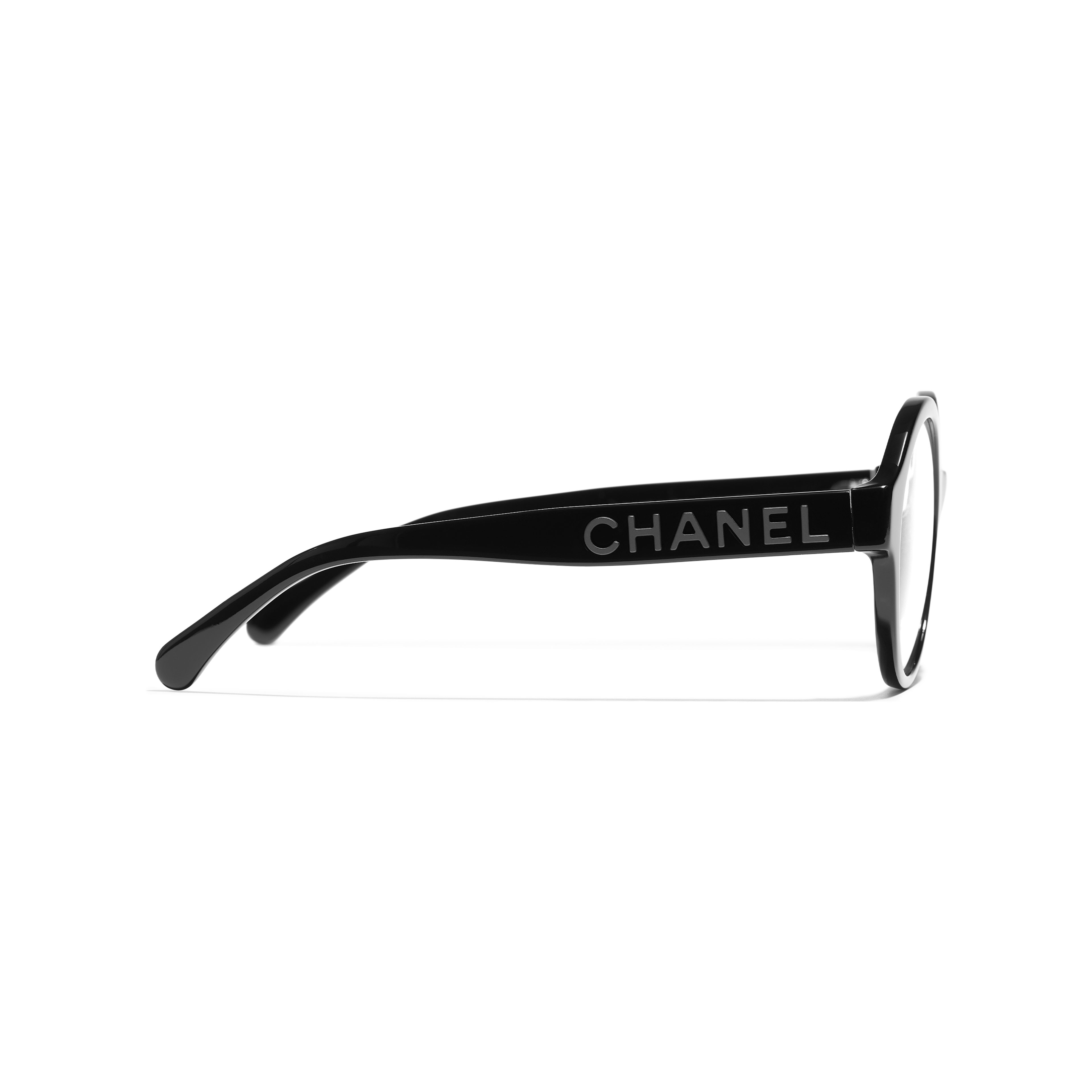 Round Eyeglasses - Black - Acetate - CHANEL - Other view - see standard sized version
