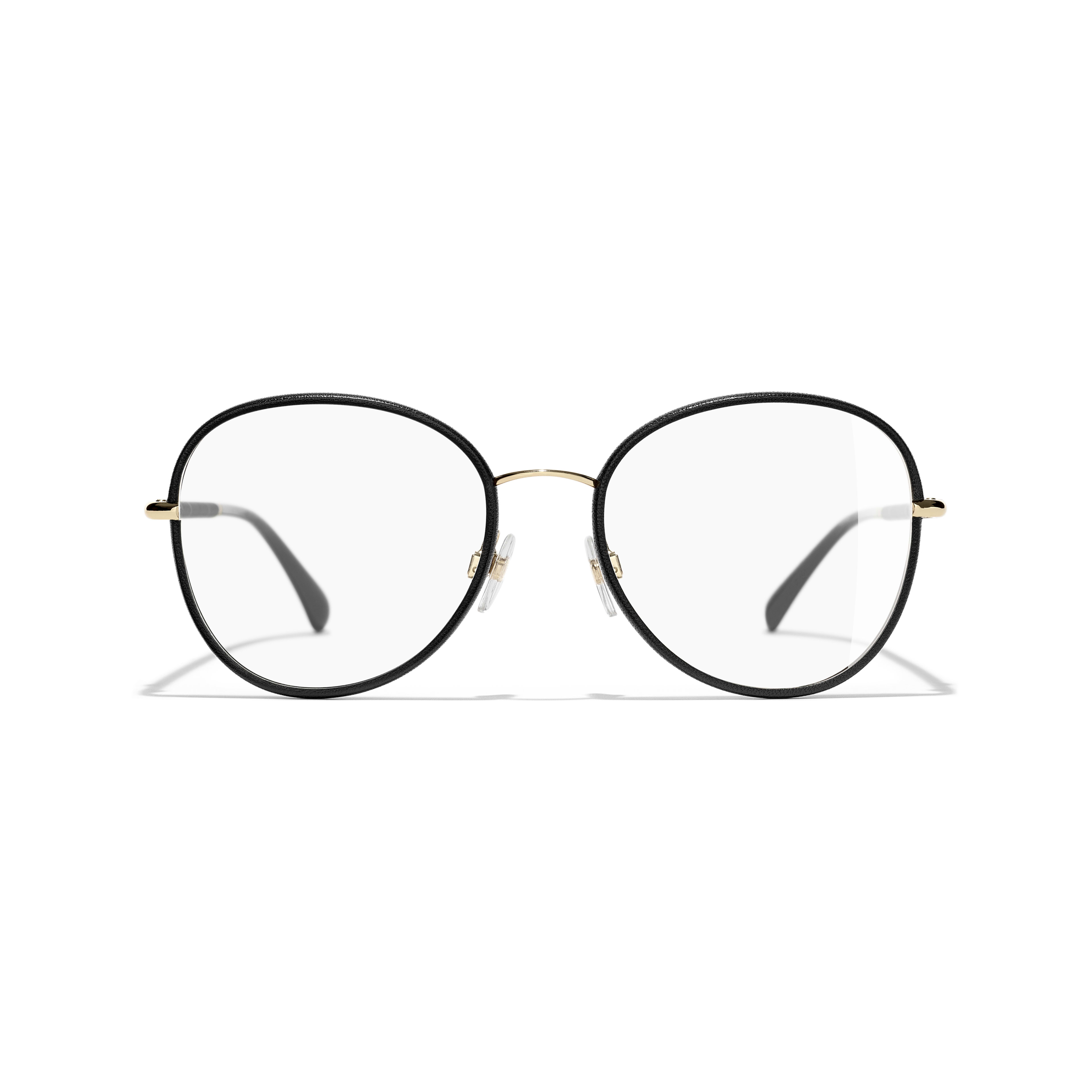 Round Eyeglasses - Black & Gold - Metal - Alternative view - see standard sized version